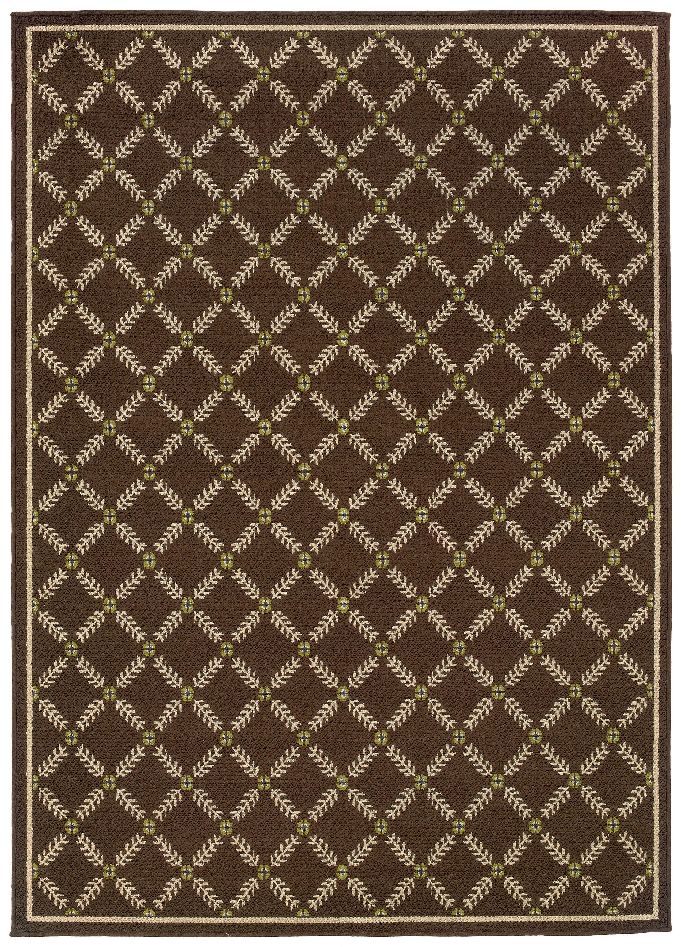 Newfield Brown/Ivory Indoor/Outdoor Area Rug Rug Size: Rectangle 5'3