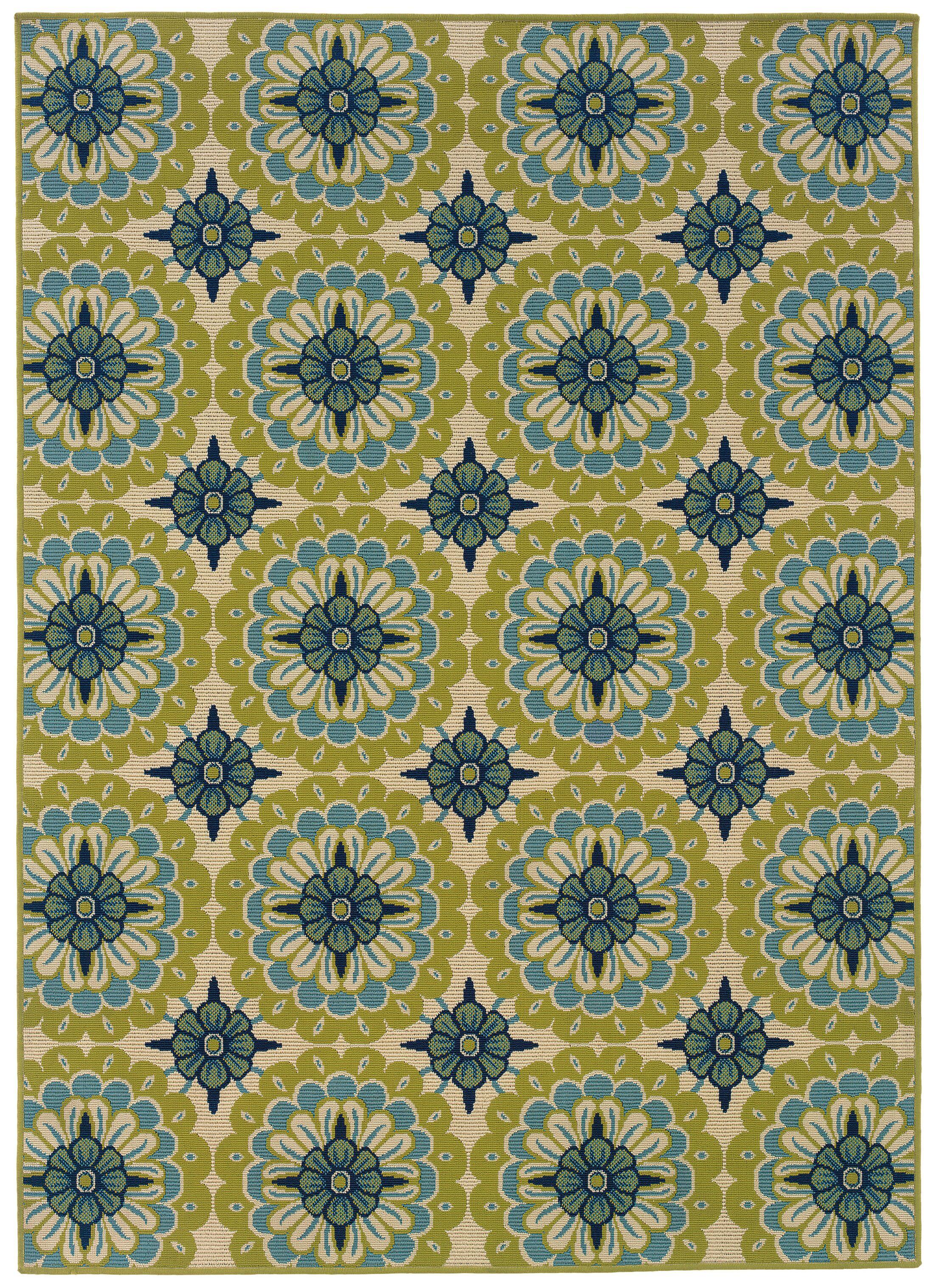 Brendel Green/Ivory Indoor/Outdoor Area Rug Rug Size: Rectangle 5'3