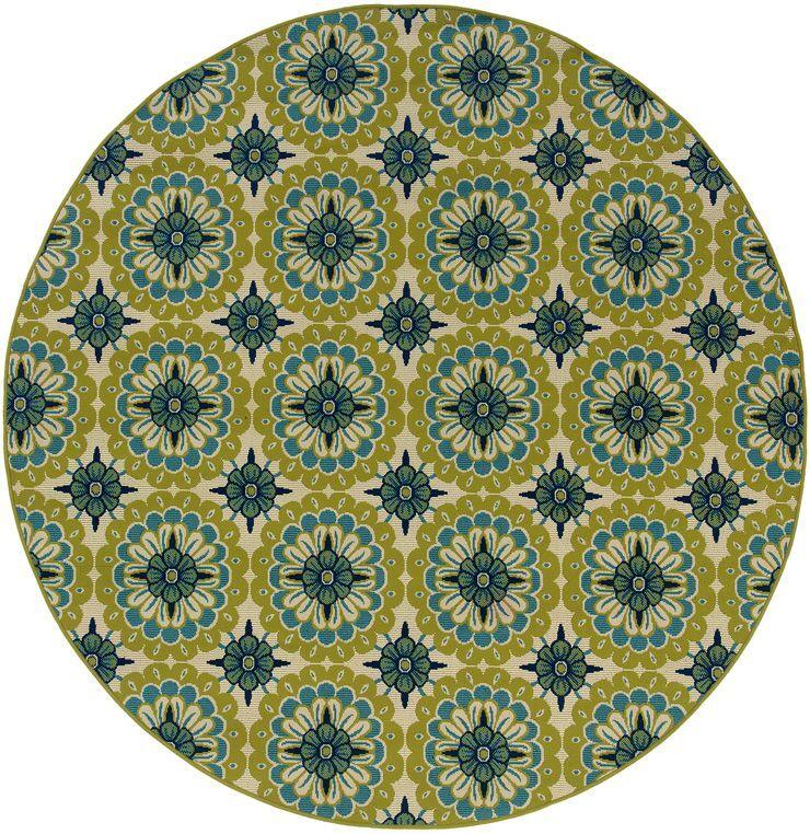 Brendel Green/Ivory Indoor/Outdoor Area Rug Rug Size: Round 7'10