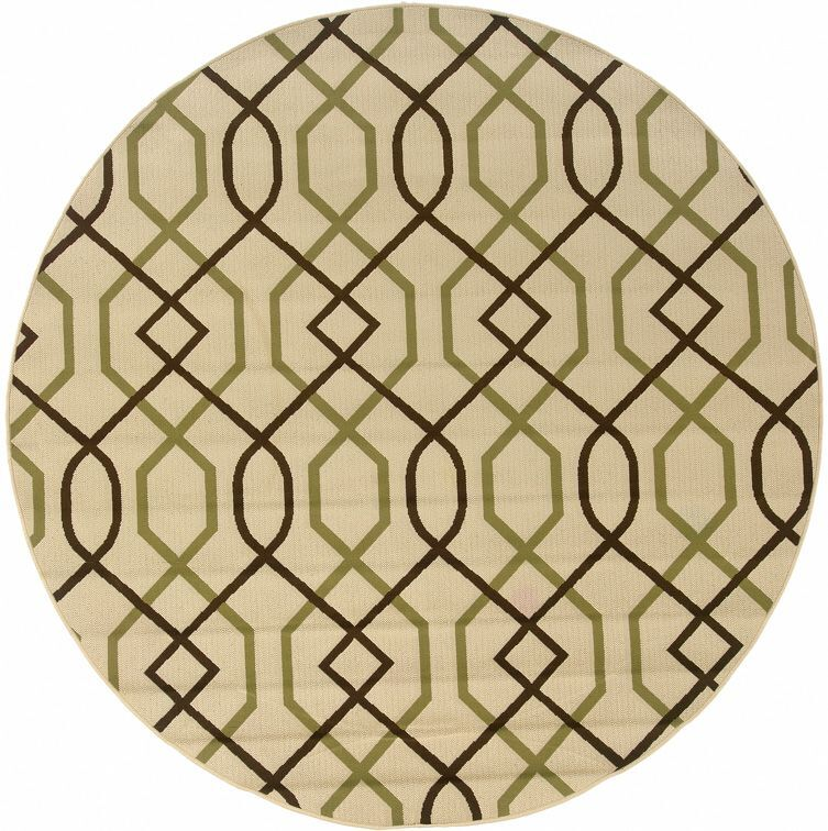 Newfield Ivory/Brown Indoor/Outdoor Area Rug Rug Size: Round 7'10