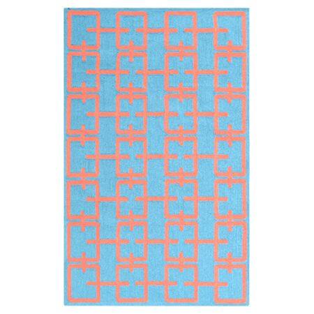 Linden Hand-Hooked Blue Area Rug Rug Size: Rectangle 5' x 7'6