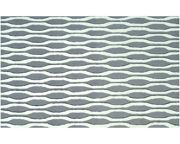 Hand-Woven Grey/White Area Rug Rug Size: Rectangle 7'6