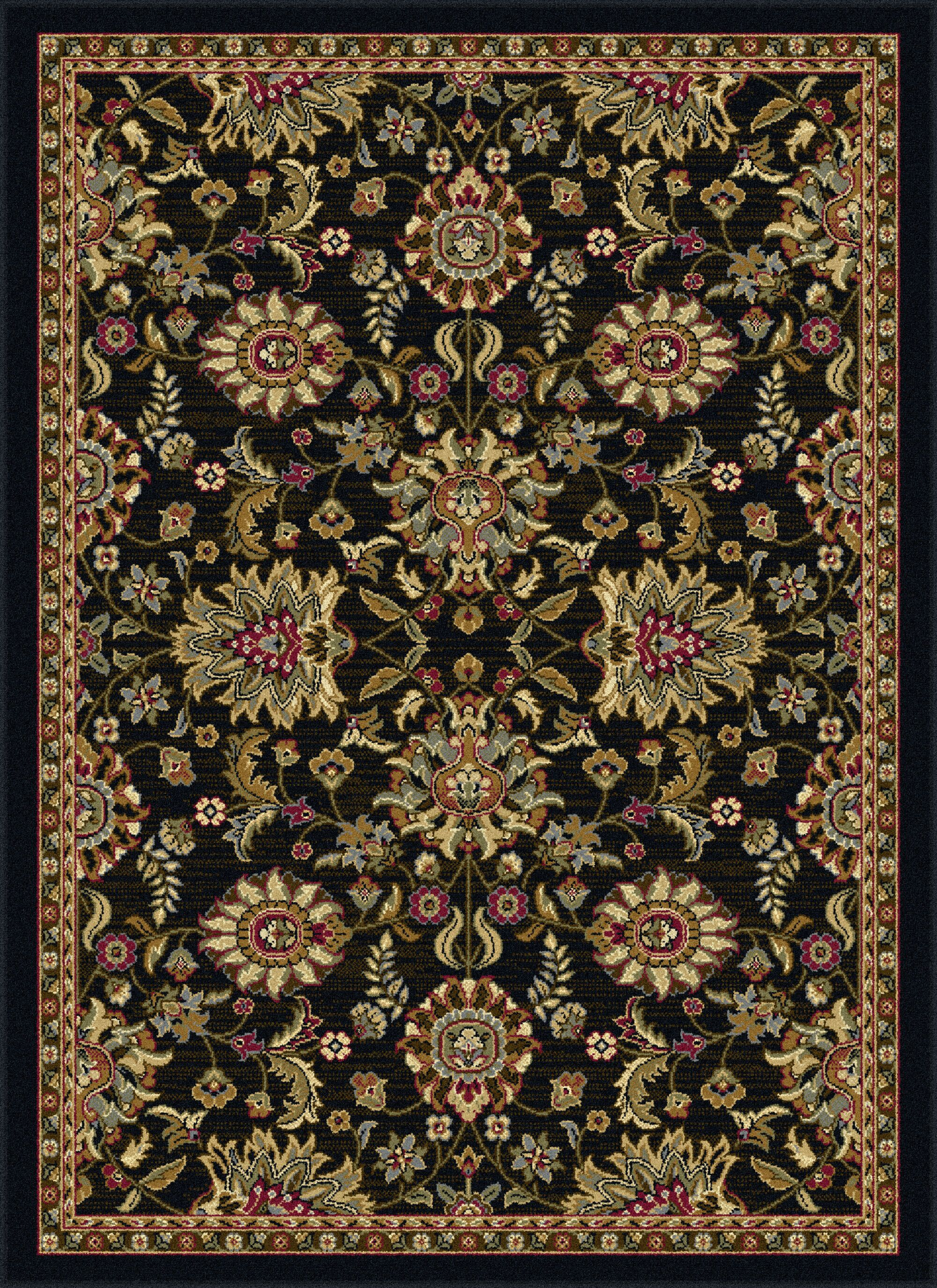 Pippins Black Area Rug Rug Size: 5'3'' x 7'3'' Oval