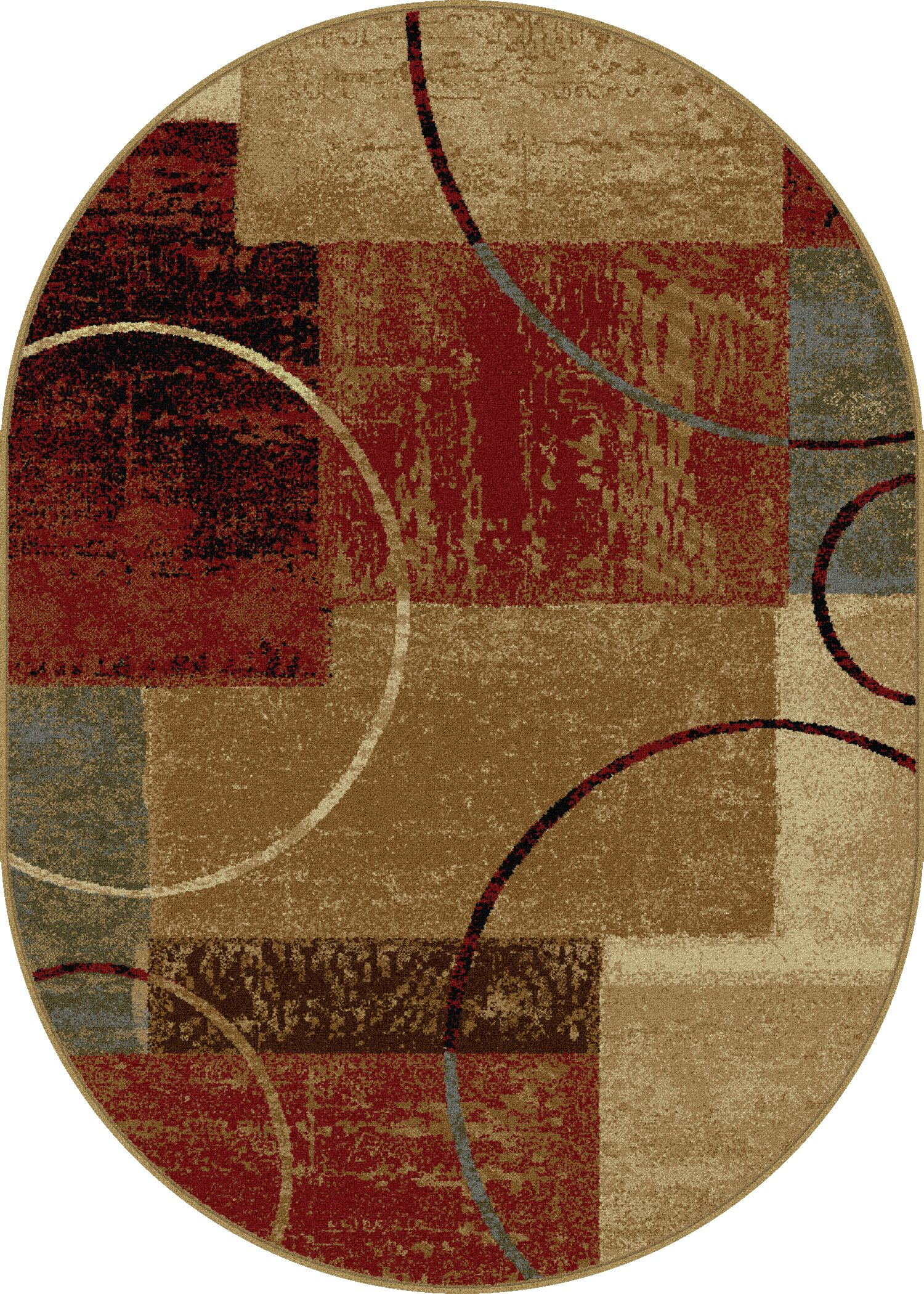 Colette Abstract Red/Brown Area Rug Rug Size: 6'7'' x 9'6'' Oval