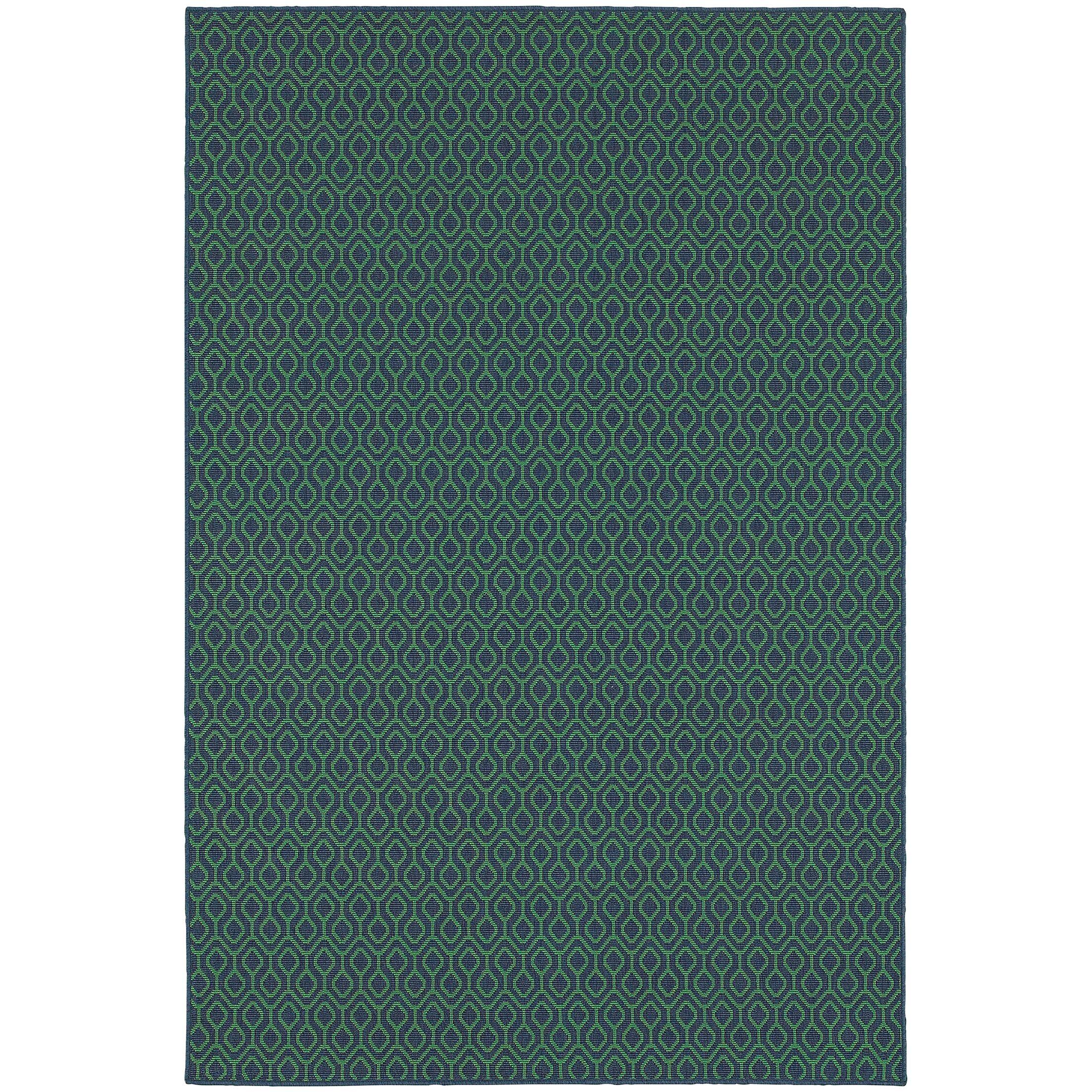 Kailani Trellis Navy/Green Indoor/Outdoor Area Rug Rug Size: Rectangle 5'3