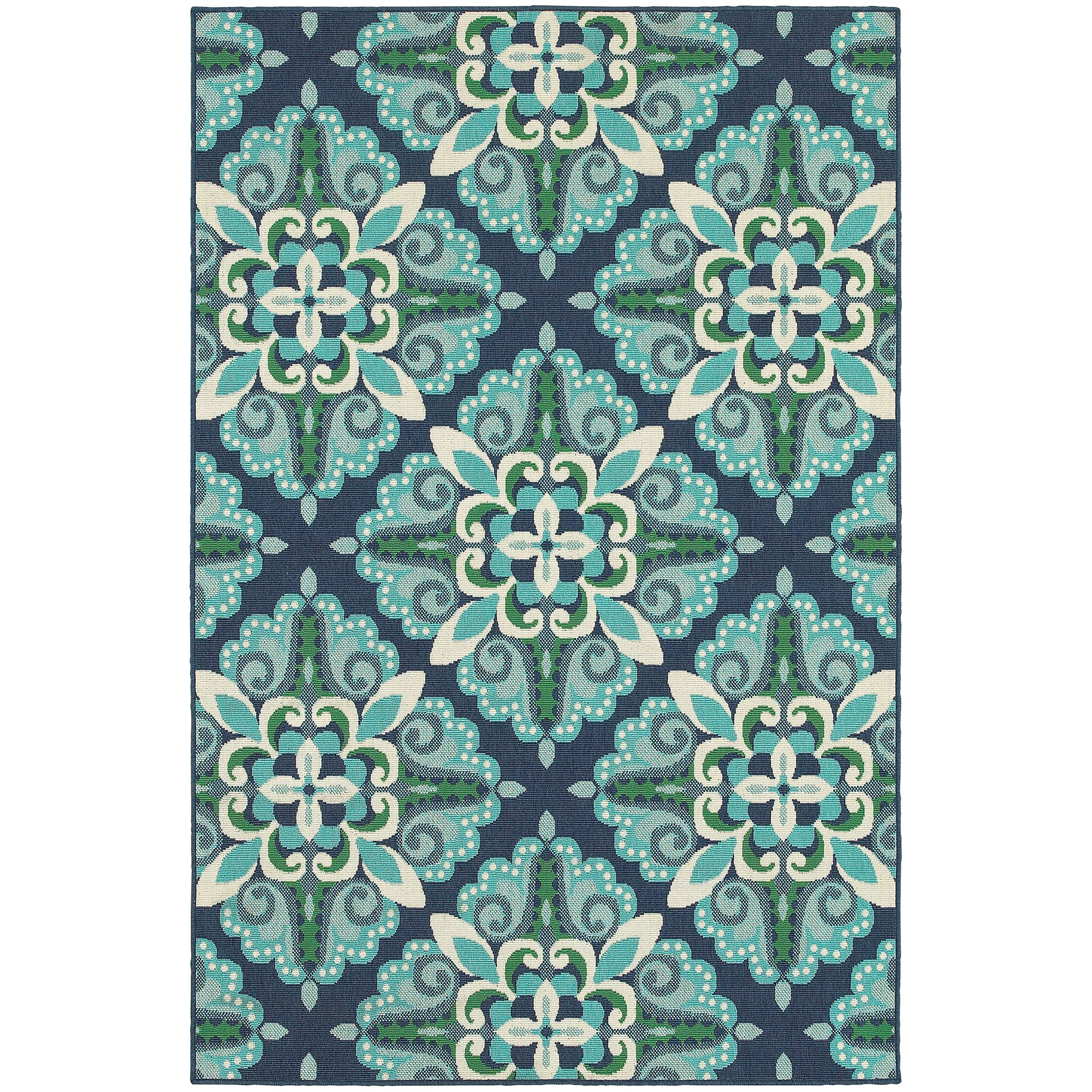 Kailani Contemporary Blue/Green Indoor/Outdoor Area Rug Rug Size: Rectangle 5'3
