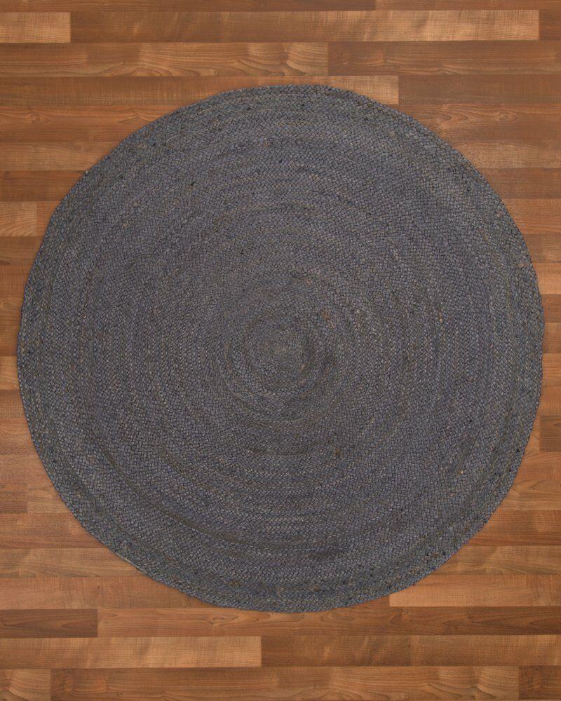 Nadine Hand-Woven Gray Area Rug Rug Size: Round 8'