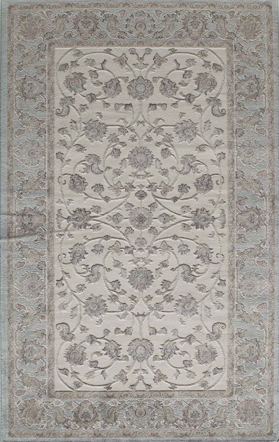 Sheldon Ivory/Blue Area Rug Rug Size: 5' x 8'