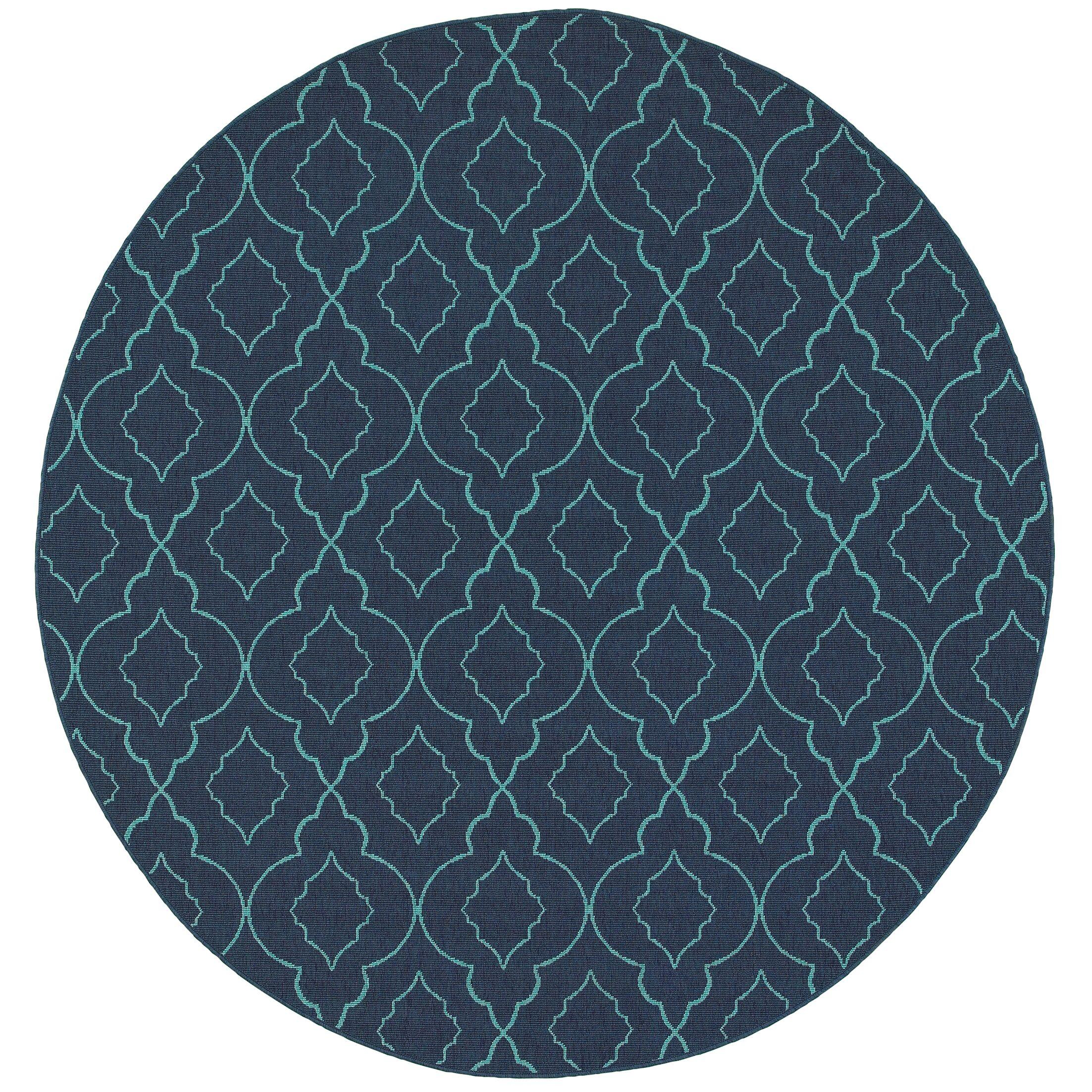 Kailani Navy/Blue Indoor/Outdoor Area Rug Rug Size: Round 7'10