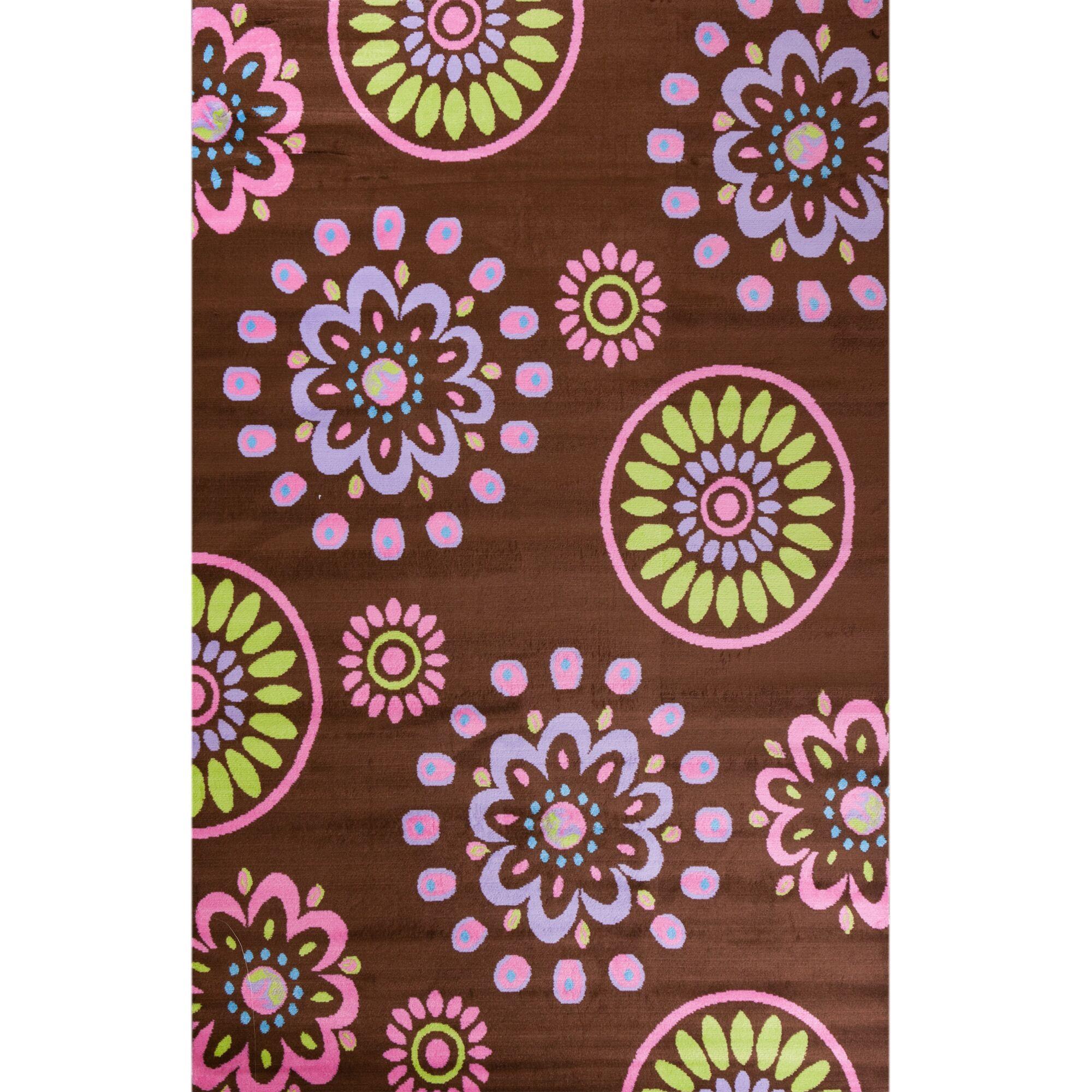 Alisa Flower Kaleidoscope Kids Area Rug Rug Size: 5' x 7'