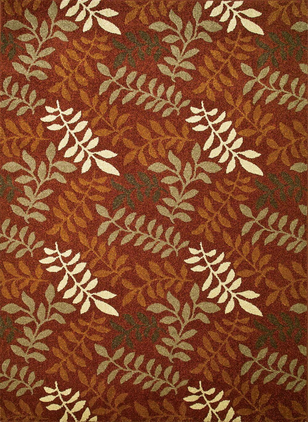 Chester Red Leafs Area Rug Rug Size: Rectangle 6'7