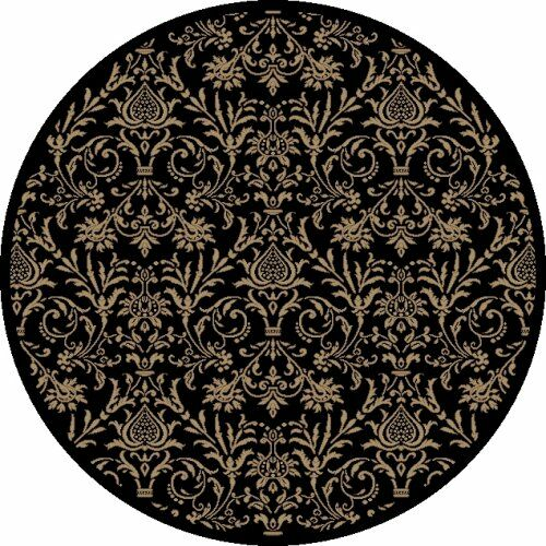 Jewel Damask Black Area Rug Rug Size: Round 5'3