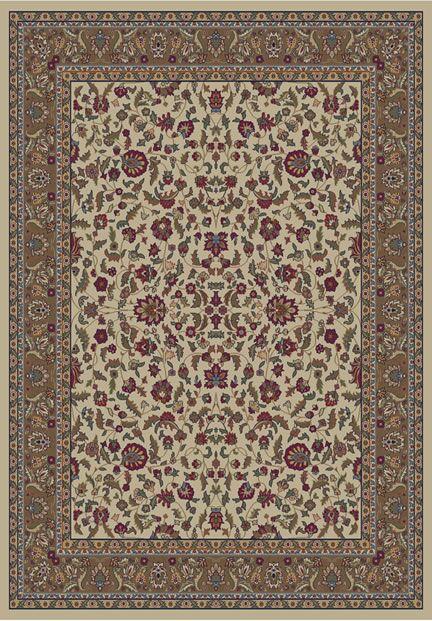 Jewel Kashan Ivory Area Rug Rug Size: Rectangle 5'3