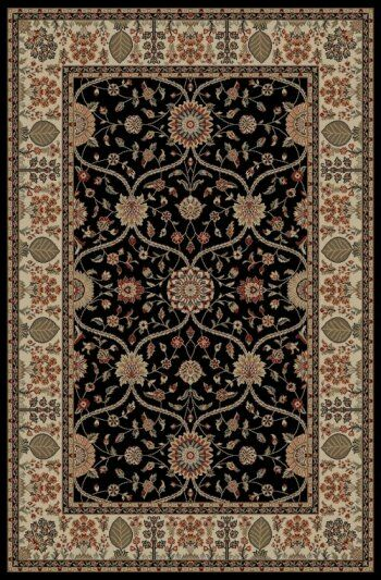 Jewel Voysey Black Floral Area Rug Rug Size: Rectangle 9'3