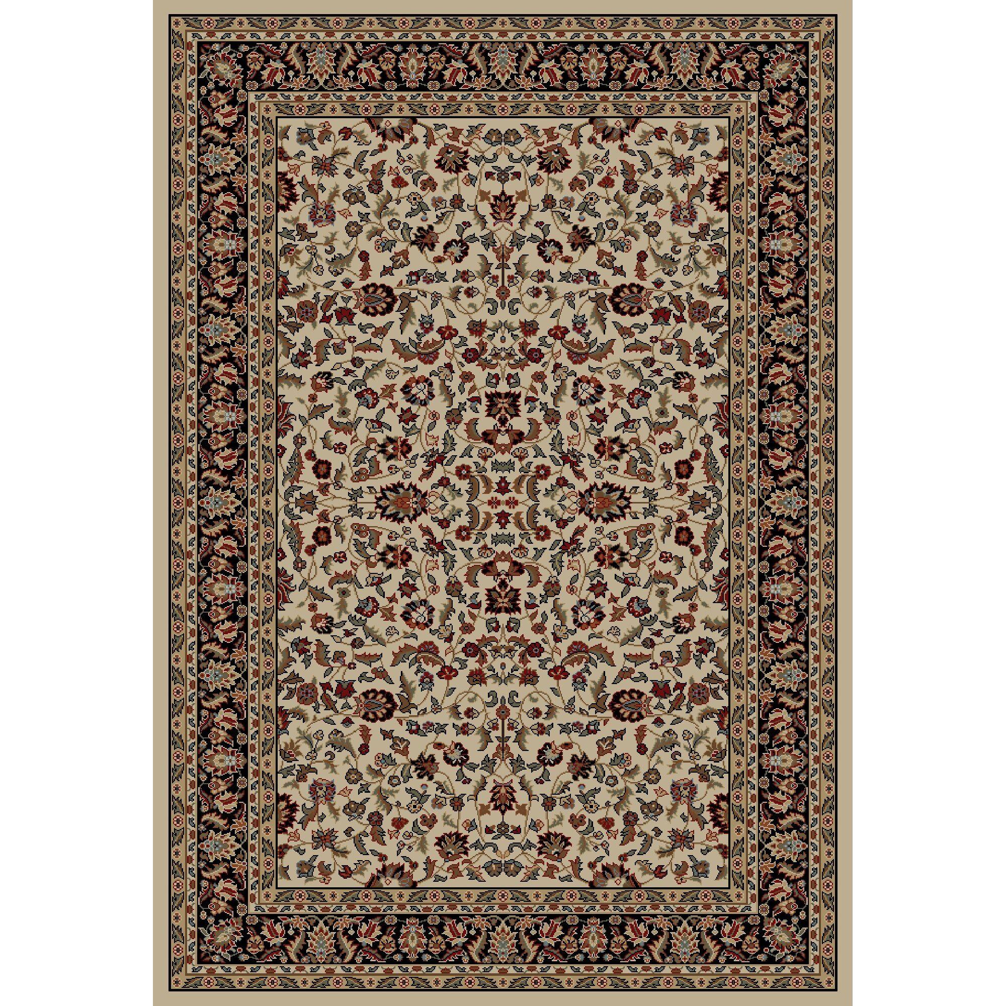 Jewel Kashan Ivory/Black Area Rug Rug Size: Rectangle 7'10