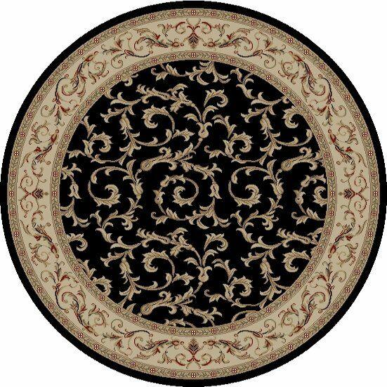 Jewel Veronica Black Floral Area Rug Rug Size: Round 5'3