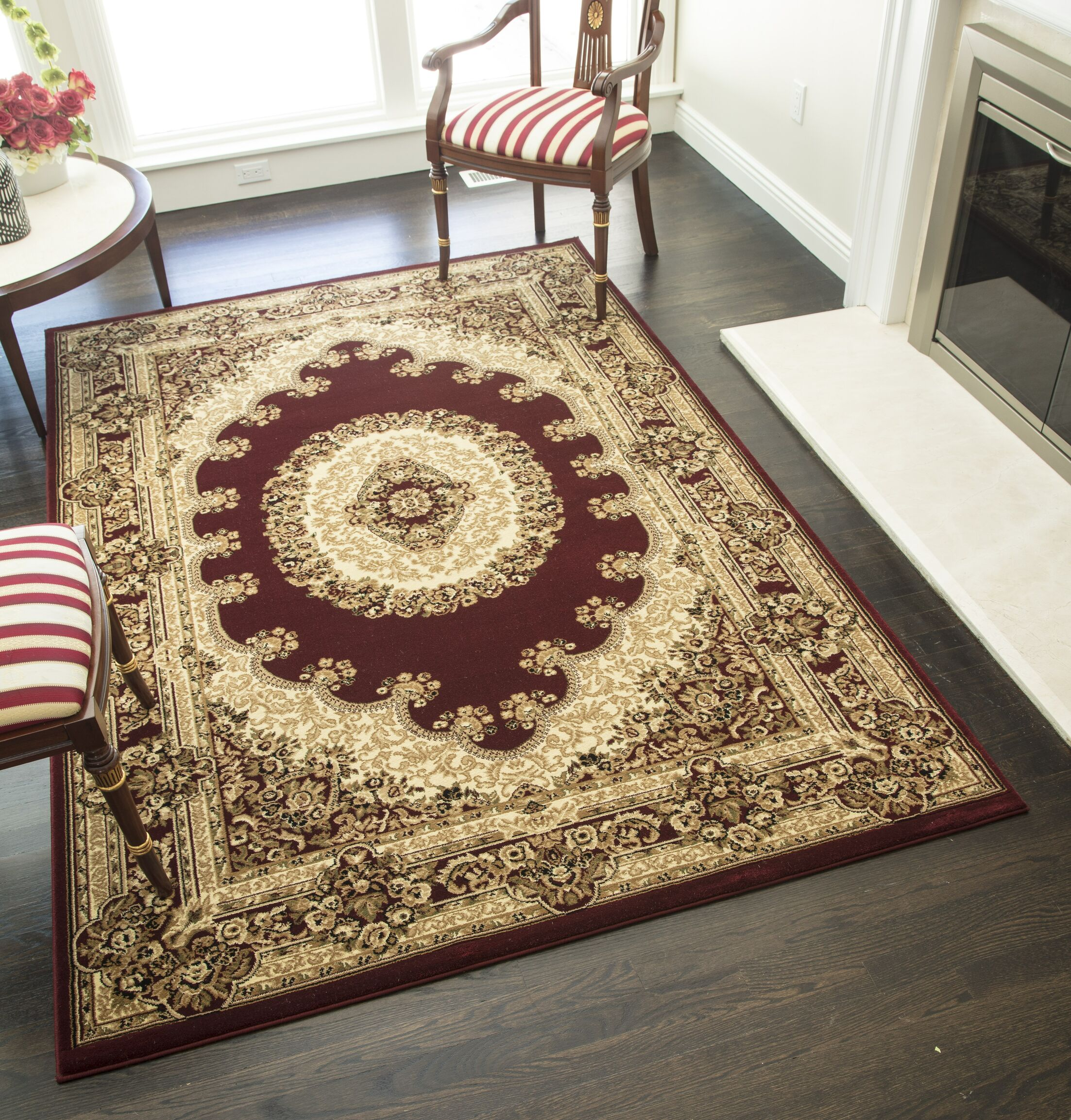 Gloucester Red Area Rug Rug Size: Round 5'3