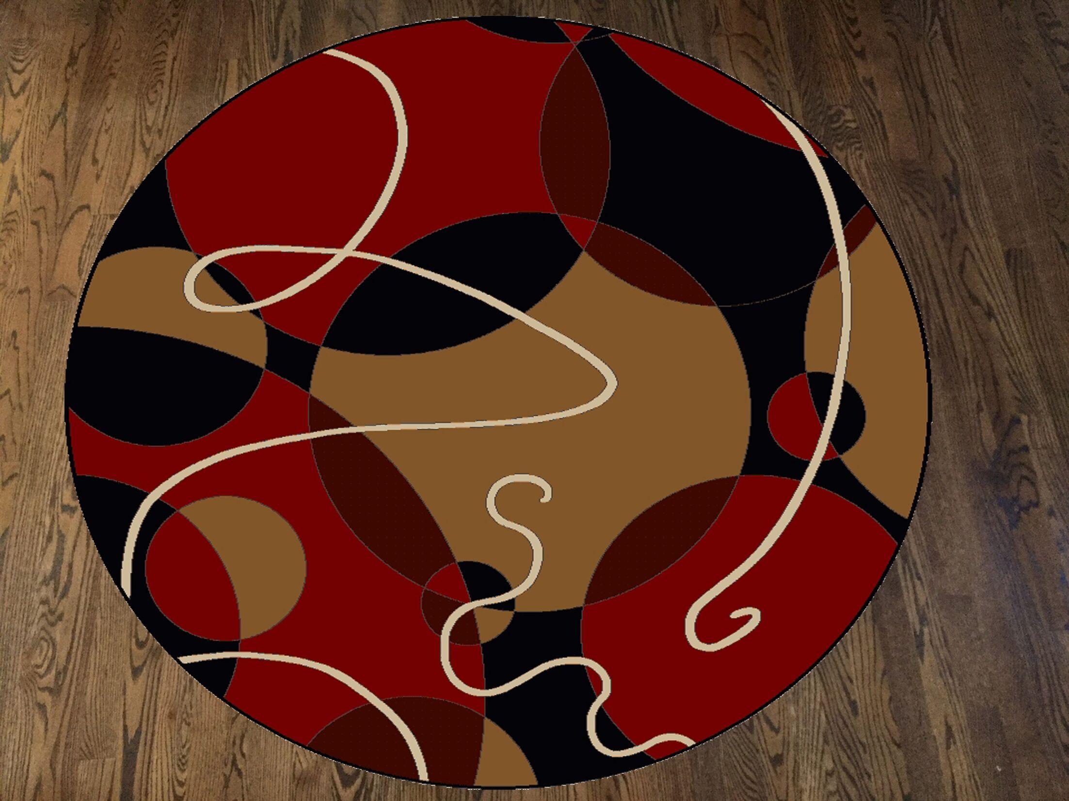 Zorgo Black/Red Area Rug Rug Size: Round 5'3