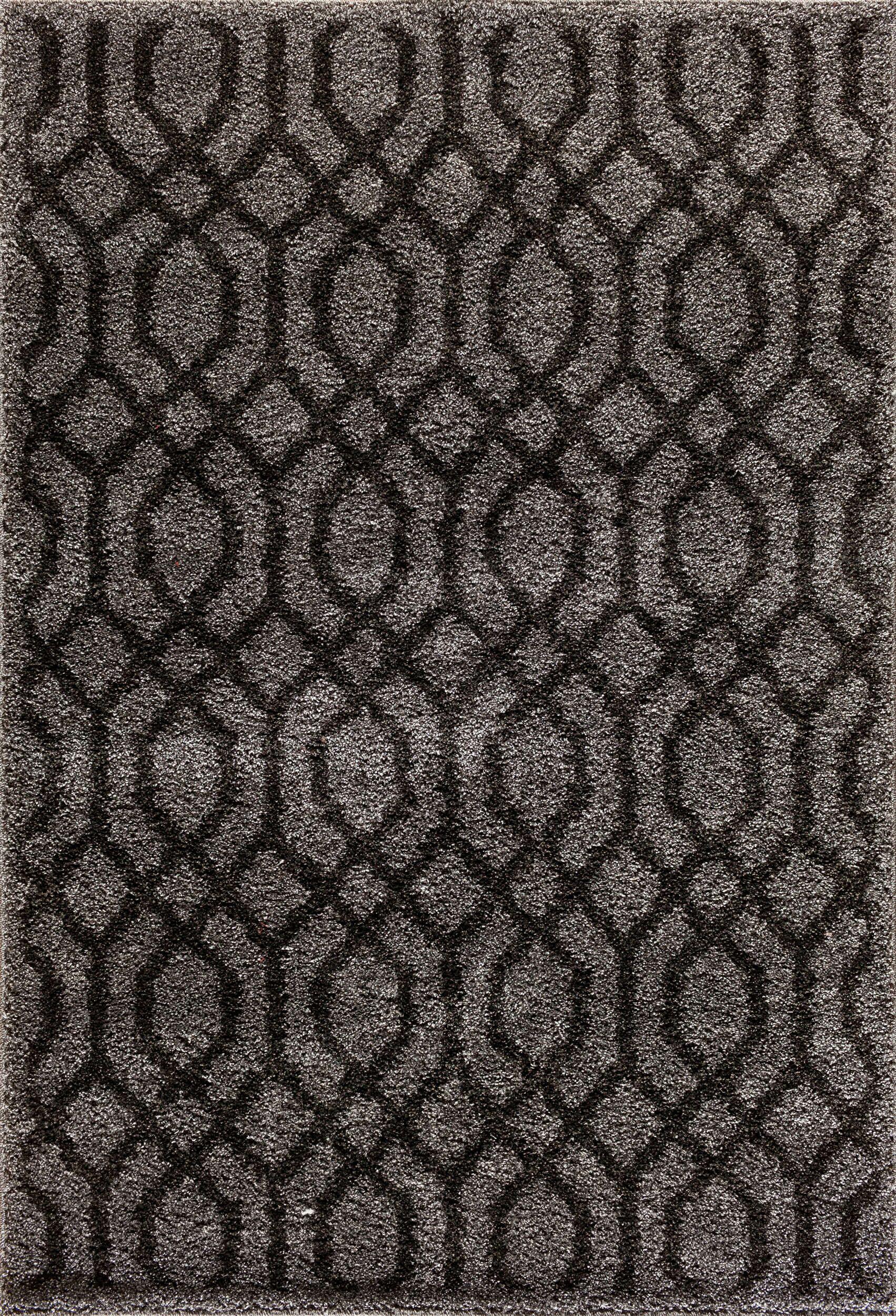 Hamilton Silver/Black Area Rug Rug Size: 7'10