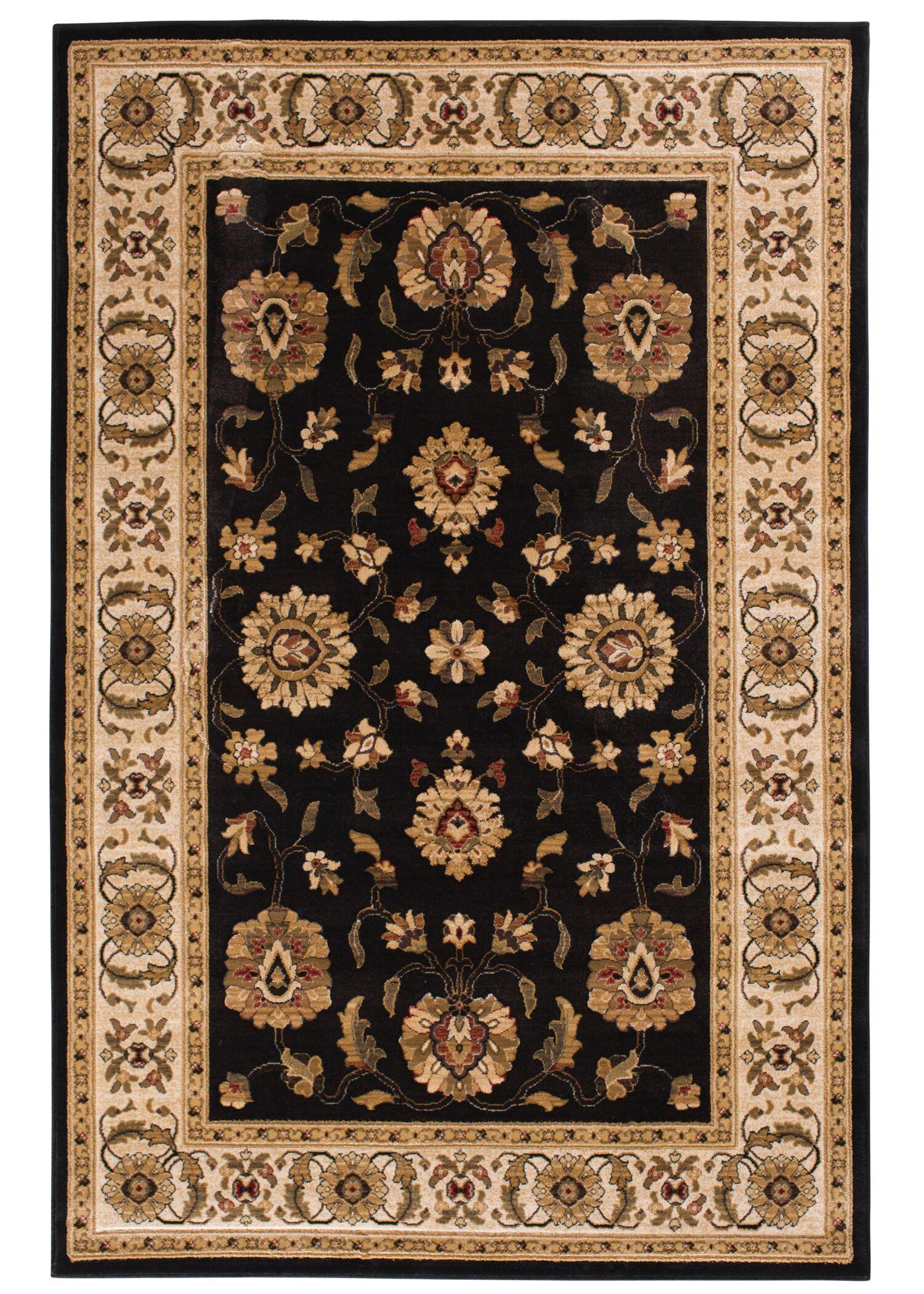 Clarkson Black/Wheat Area Rug Rug Size: 5' x 7'6