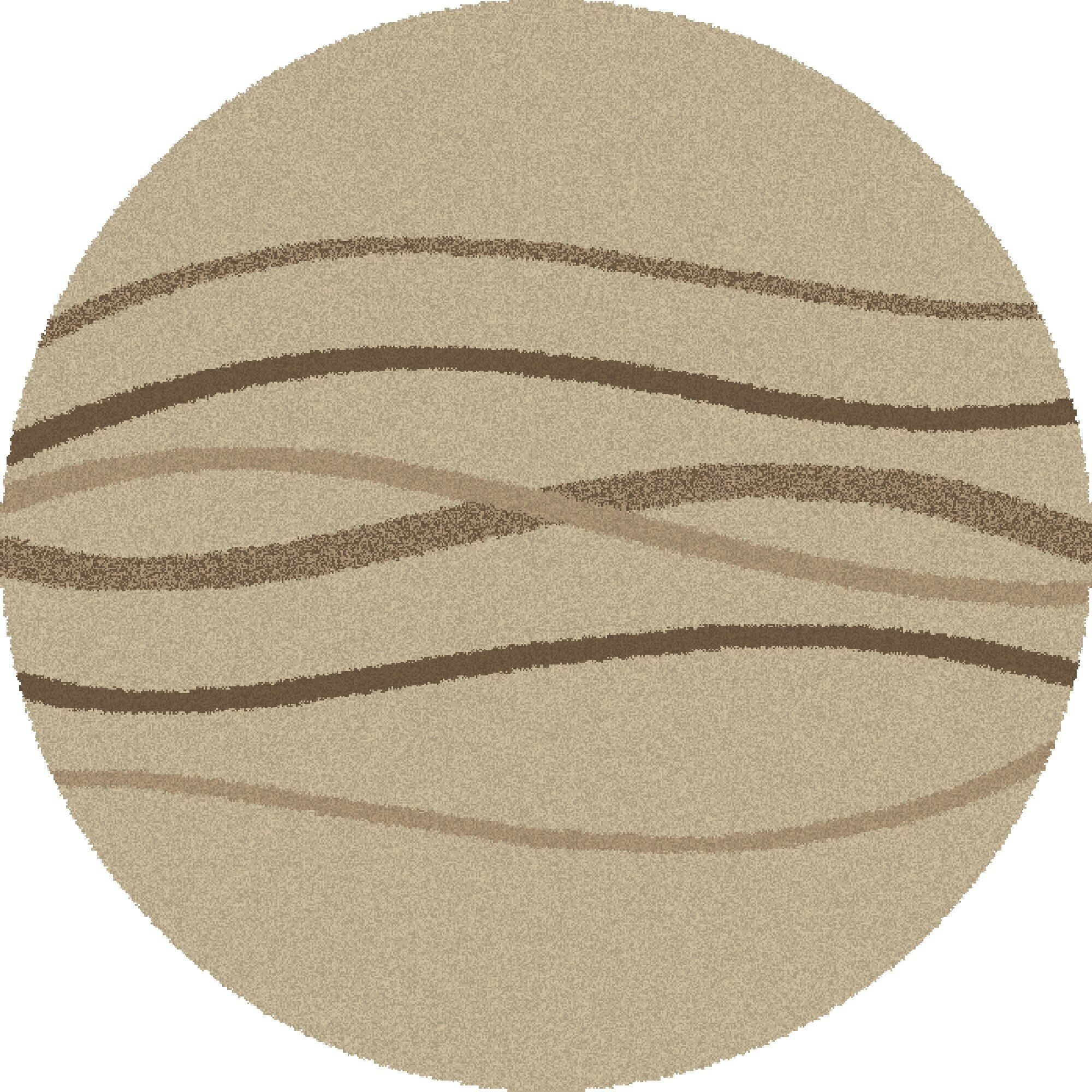 Shaggy Waves Natural Area Rug Rug Size: Round 6'7