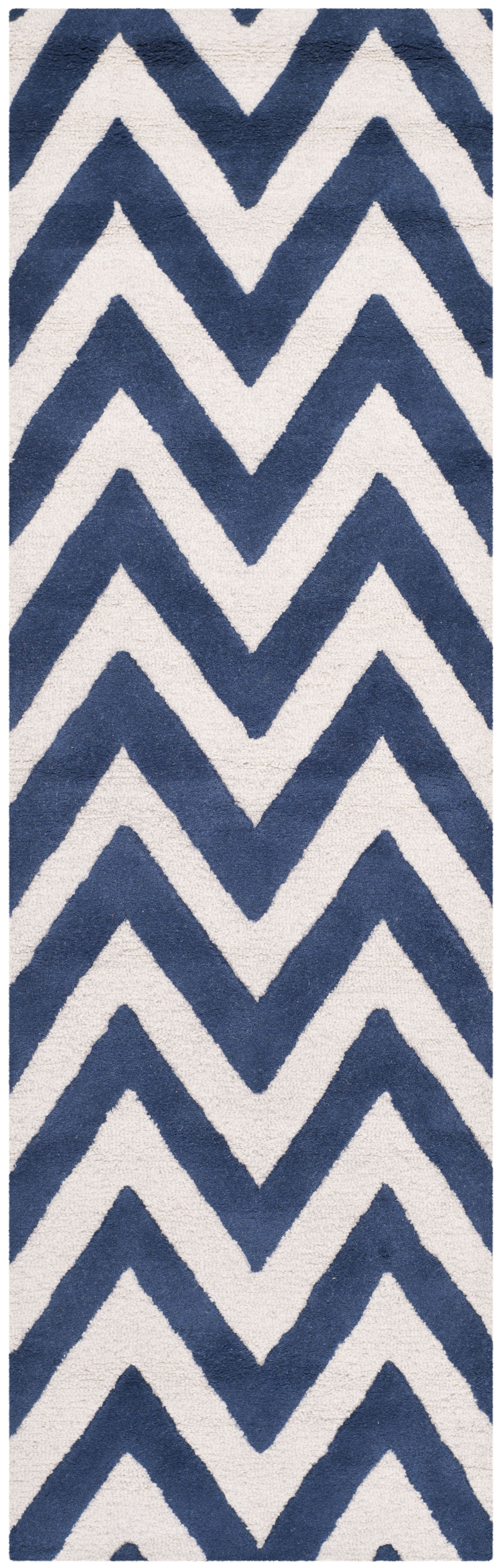 Hand-Tufted Wool Navy/Ivory Area Rug Rug Size: Runner 2'6