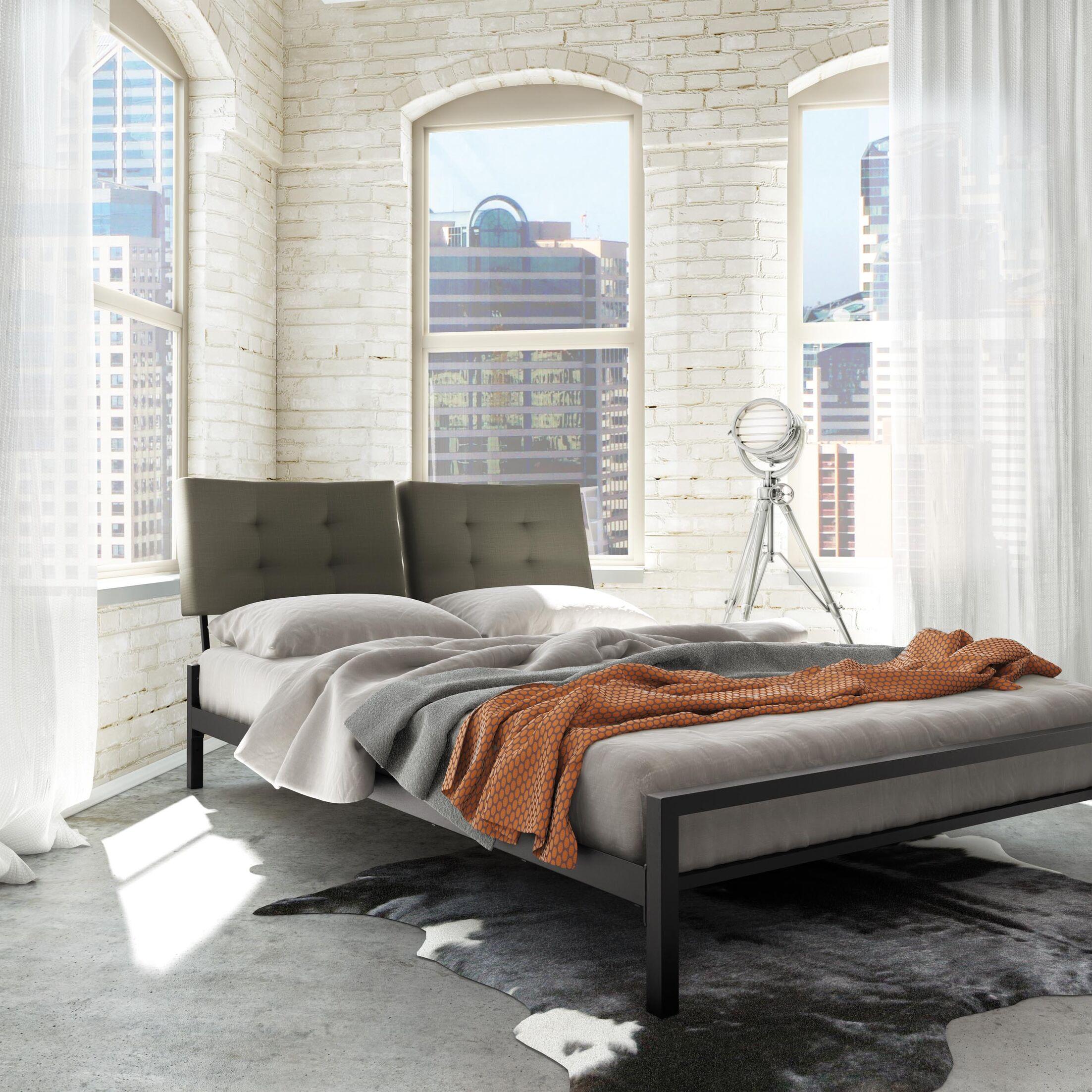 Maxton Upholstered Platform Bed Size: Queen, Color (Headboard/Frame): Grey Polyurethane/Brown Metal