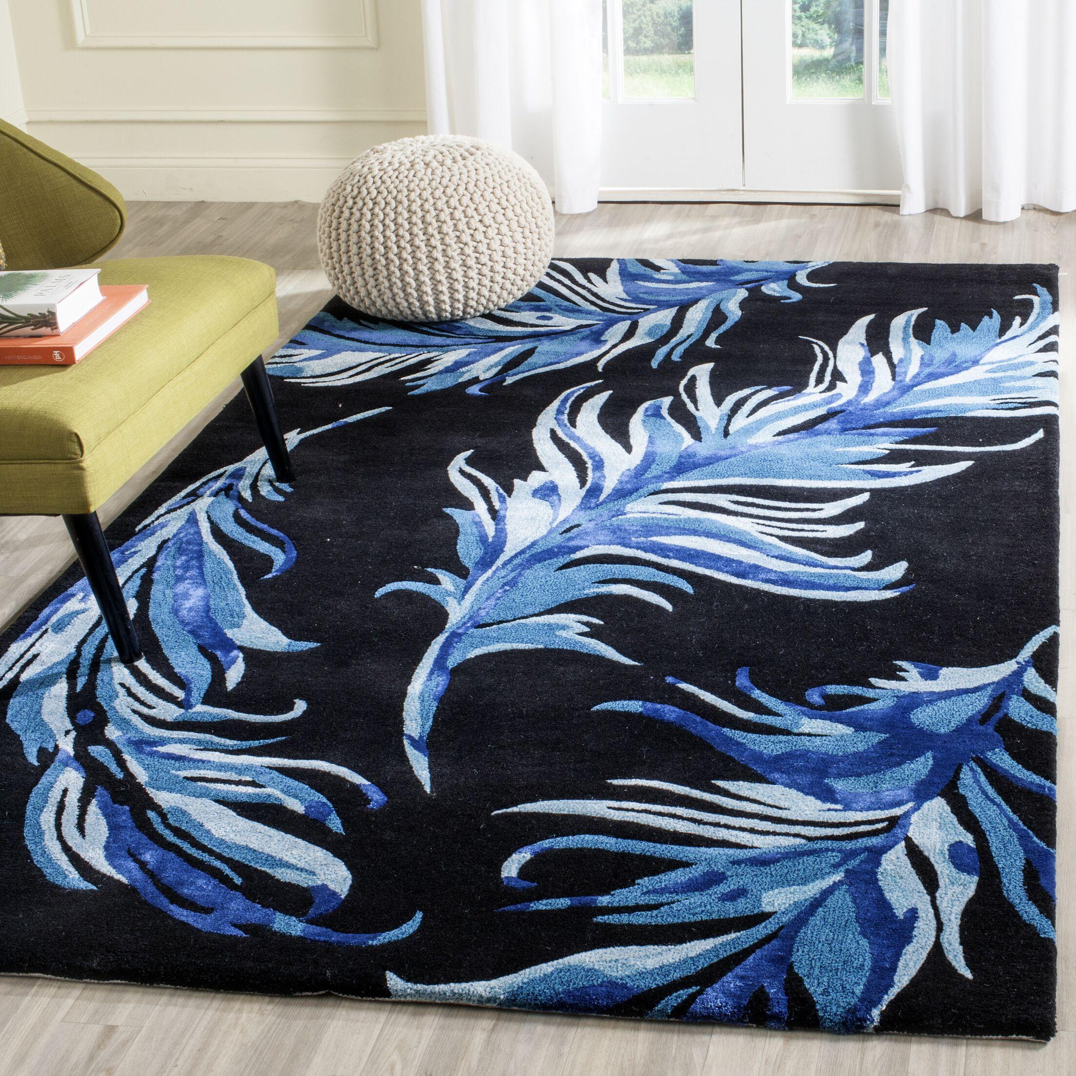Leeds Black/Blue Area Rug Rug Size: Rectangle 4' x 6'