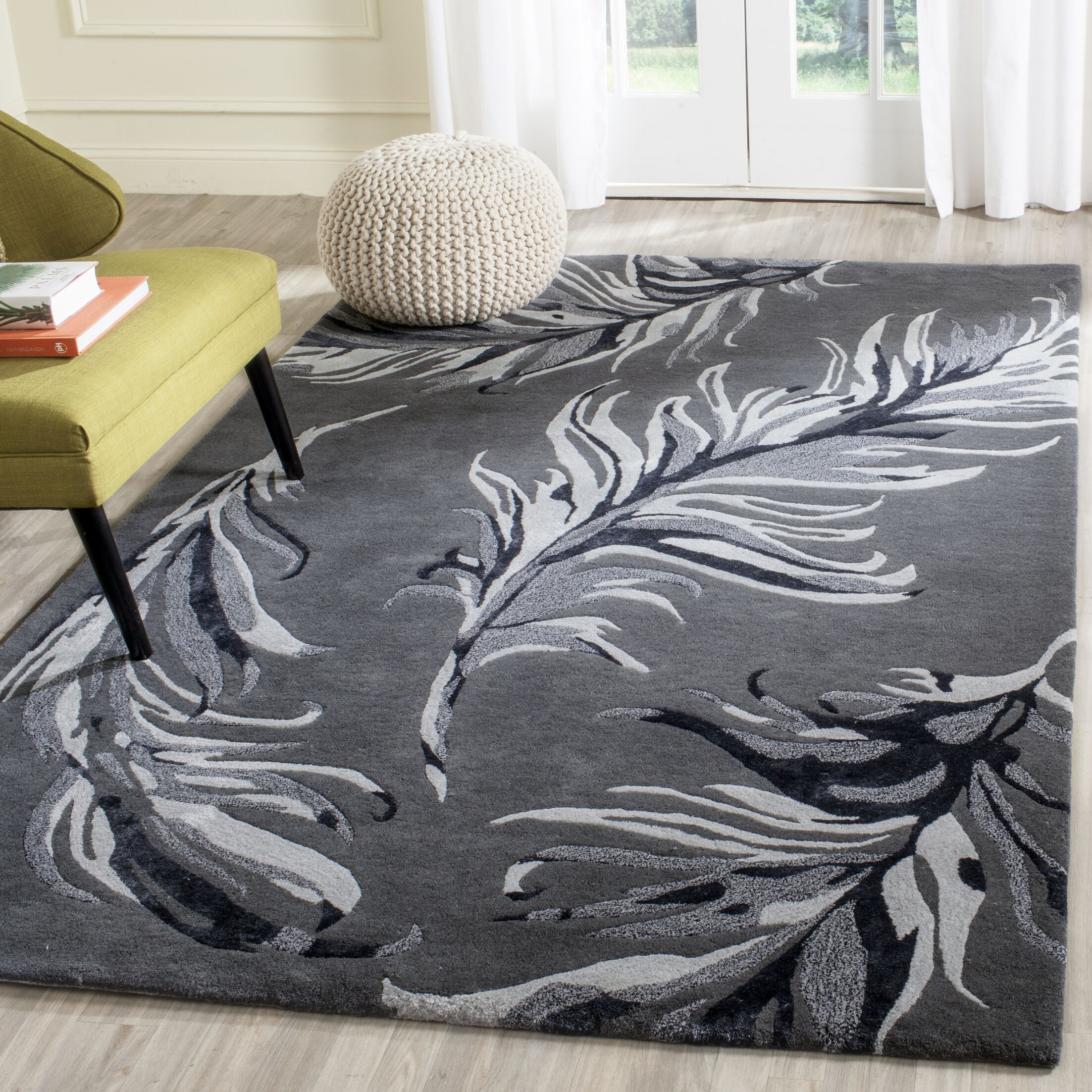 White Bird Gray Area Rug Rug Size: Rectangle 4' x 6'