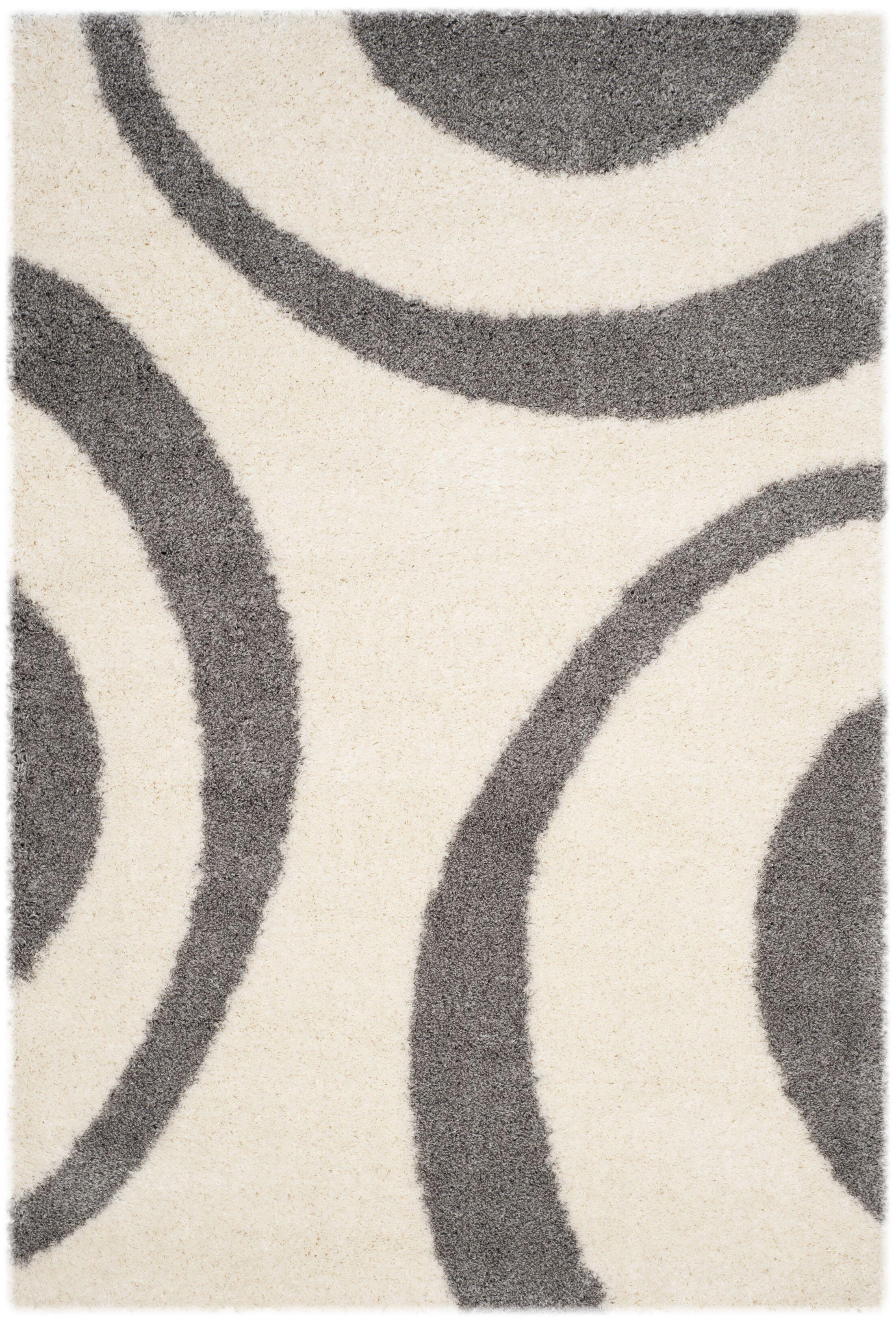 Barbara Shag Ivory/Gray Area Rug Rug Size: Rectangle 5'1