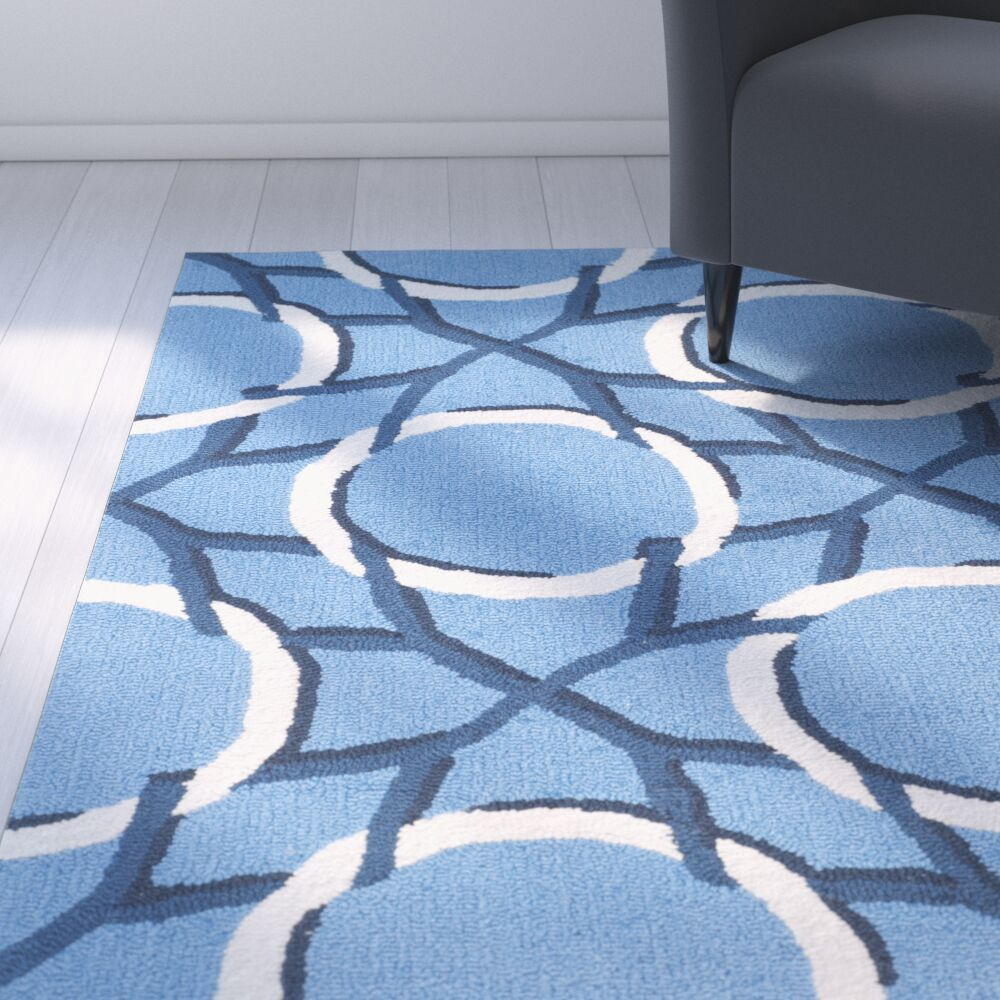 Thomes Hand-hooked Blue/Ivory Area Rug Rug Size: Rectangle 3'6