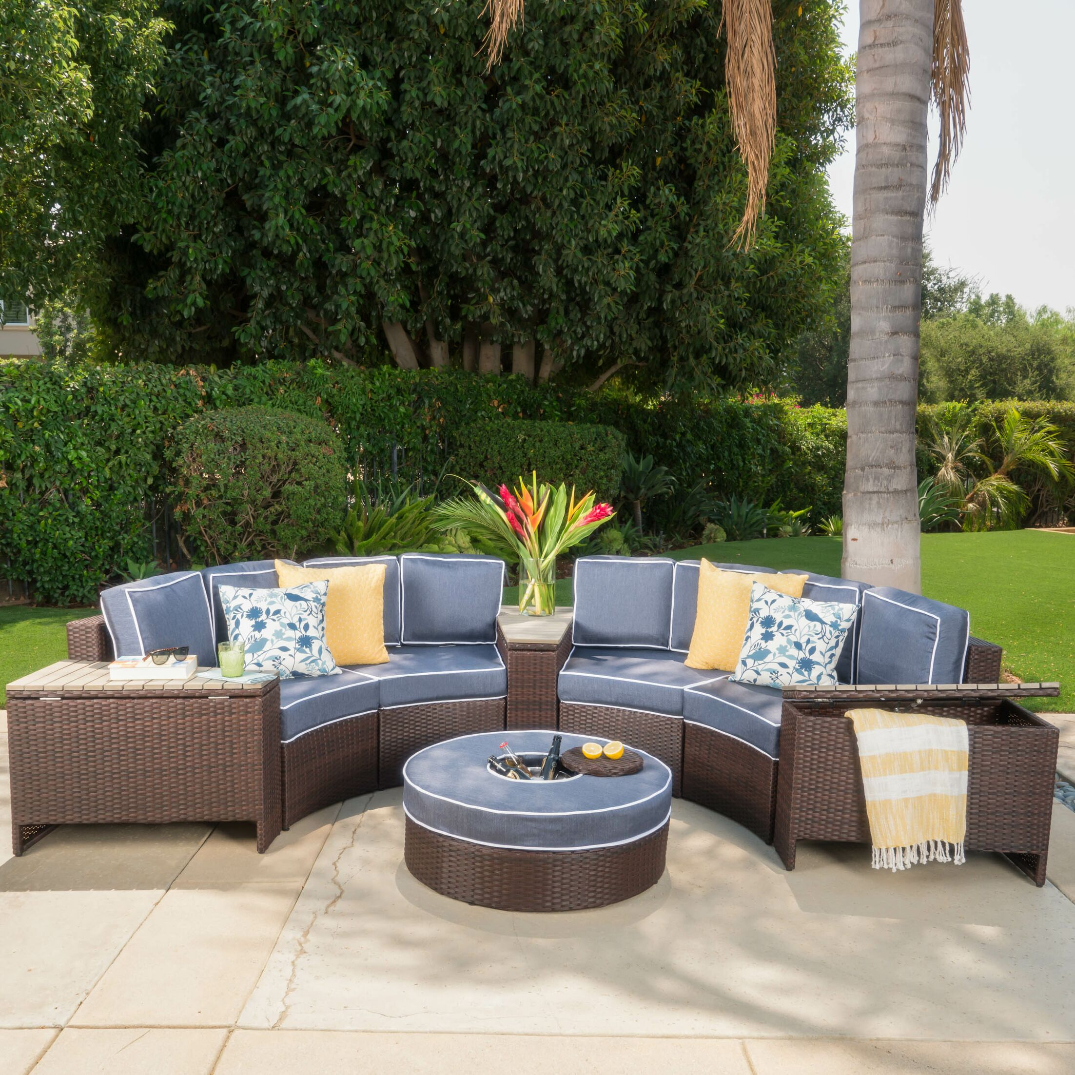 Daniela 8 Piece Sectional Set with Cushions Color: Navy Blue