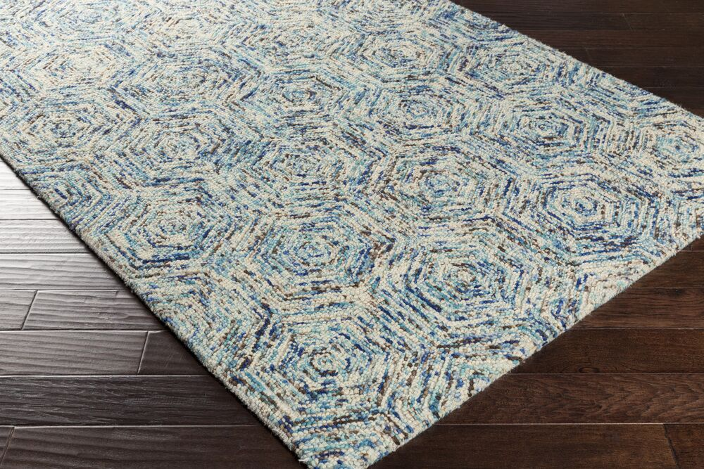 Bryant Hand-Hooked Blue Area Rug Rug Size: Rectangle 2' x 3'