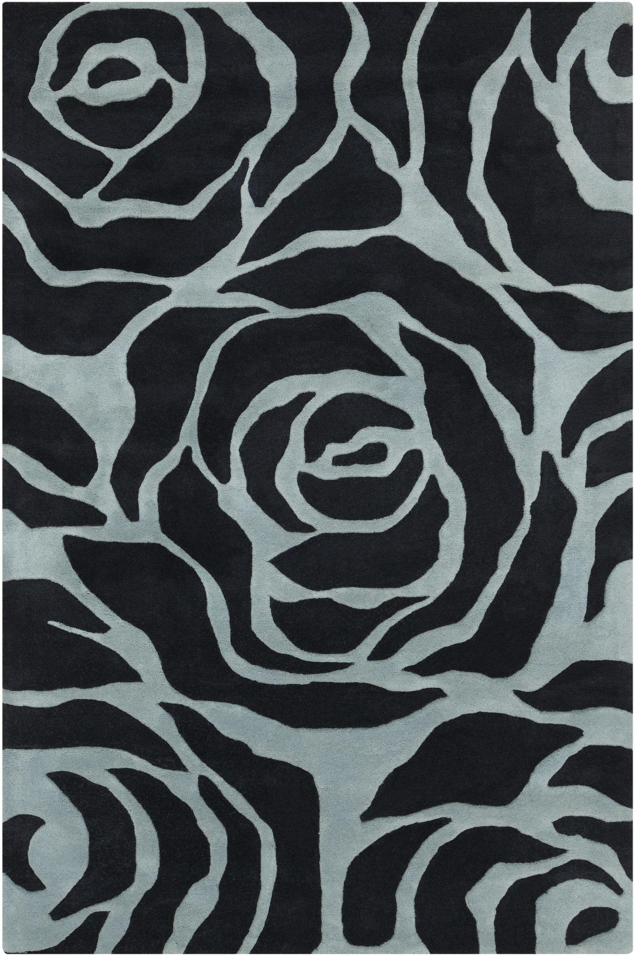 Arae Black/Light Blue Floral Area Rug Rug Size: 7'9