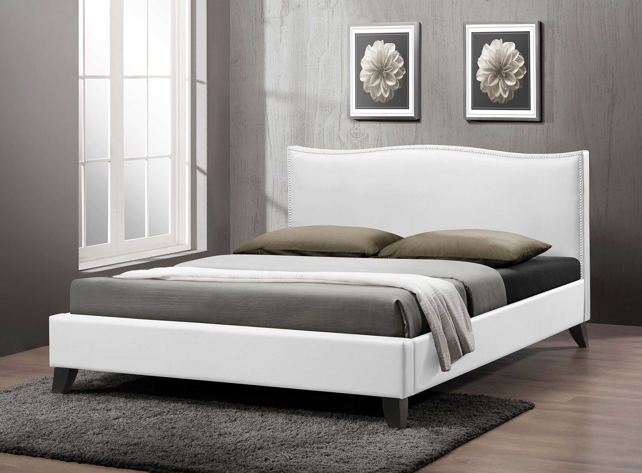 Aldaco Upholstered Platform Bed Size: Queen, Color: White
