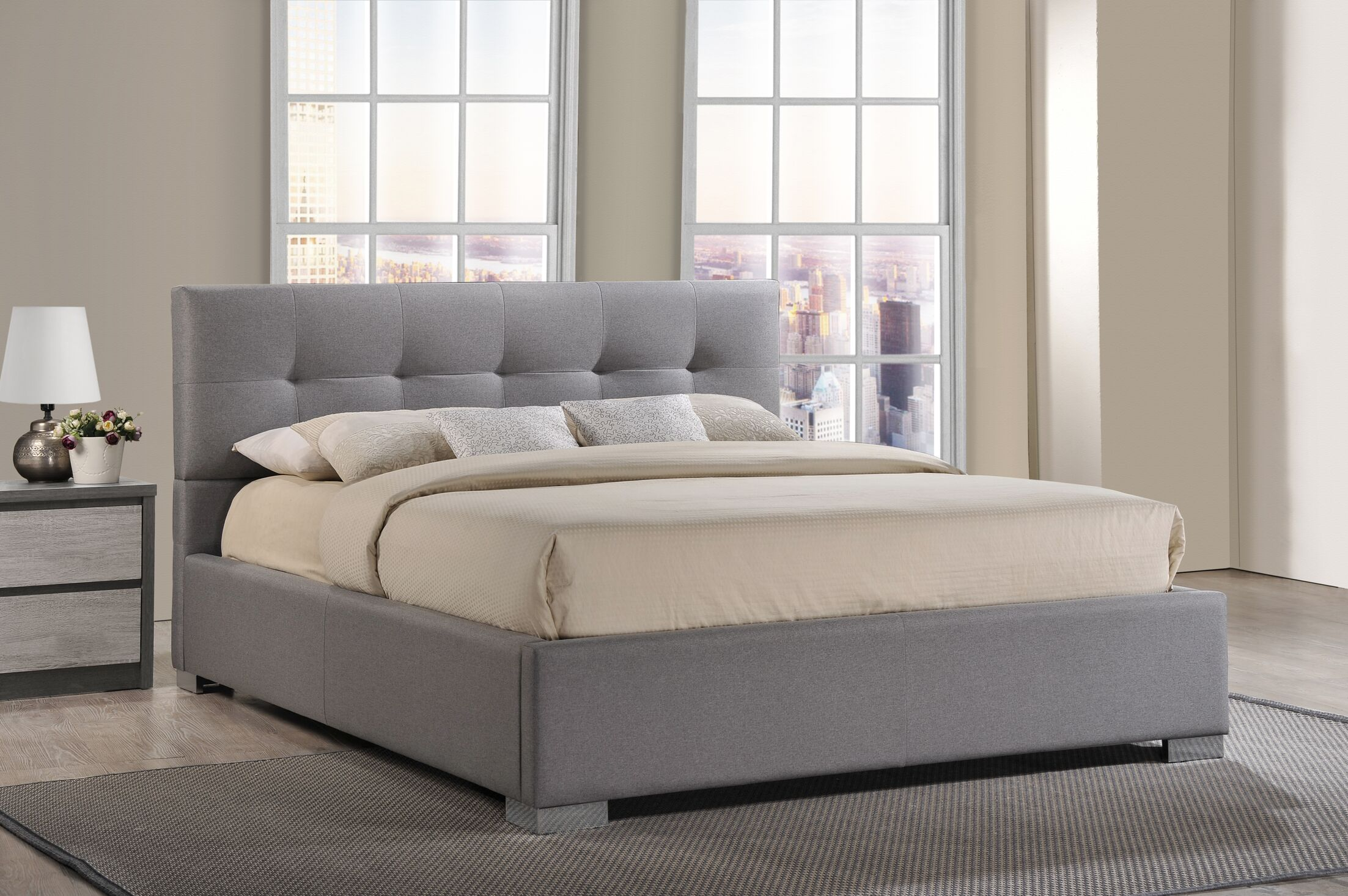 Trudeau Upholstered Platform Bed Color: Beige, Size: Queen