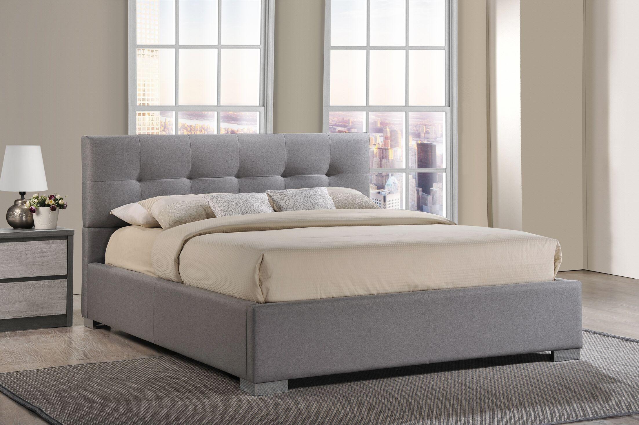Trudeau Upholstered Platform Bed Color: Grey, Size: King