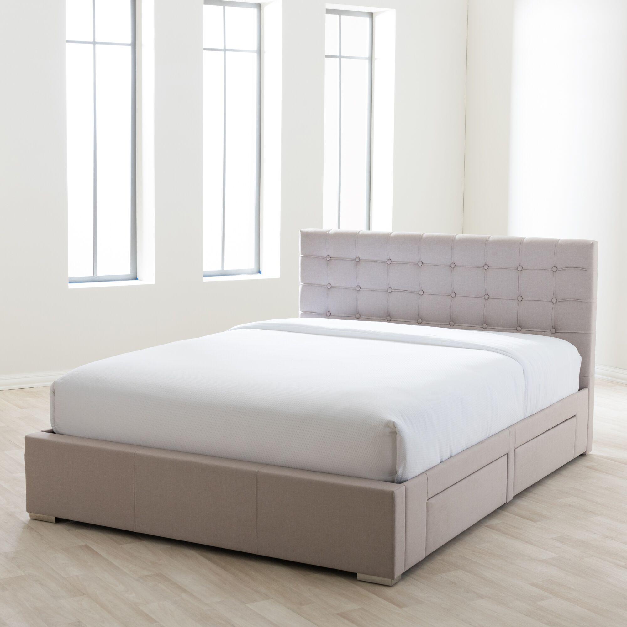Myrrine Upholstered Storage Platform Bed Color: Grey, Size: King