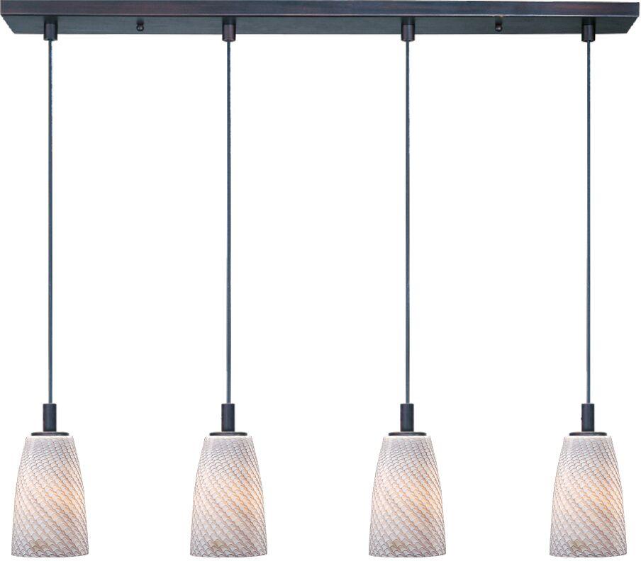 Pegasi 4-Light LED Kitchen Island Pendant Finish: Bronze, Shade Color: Gray