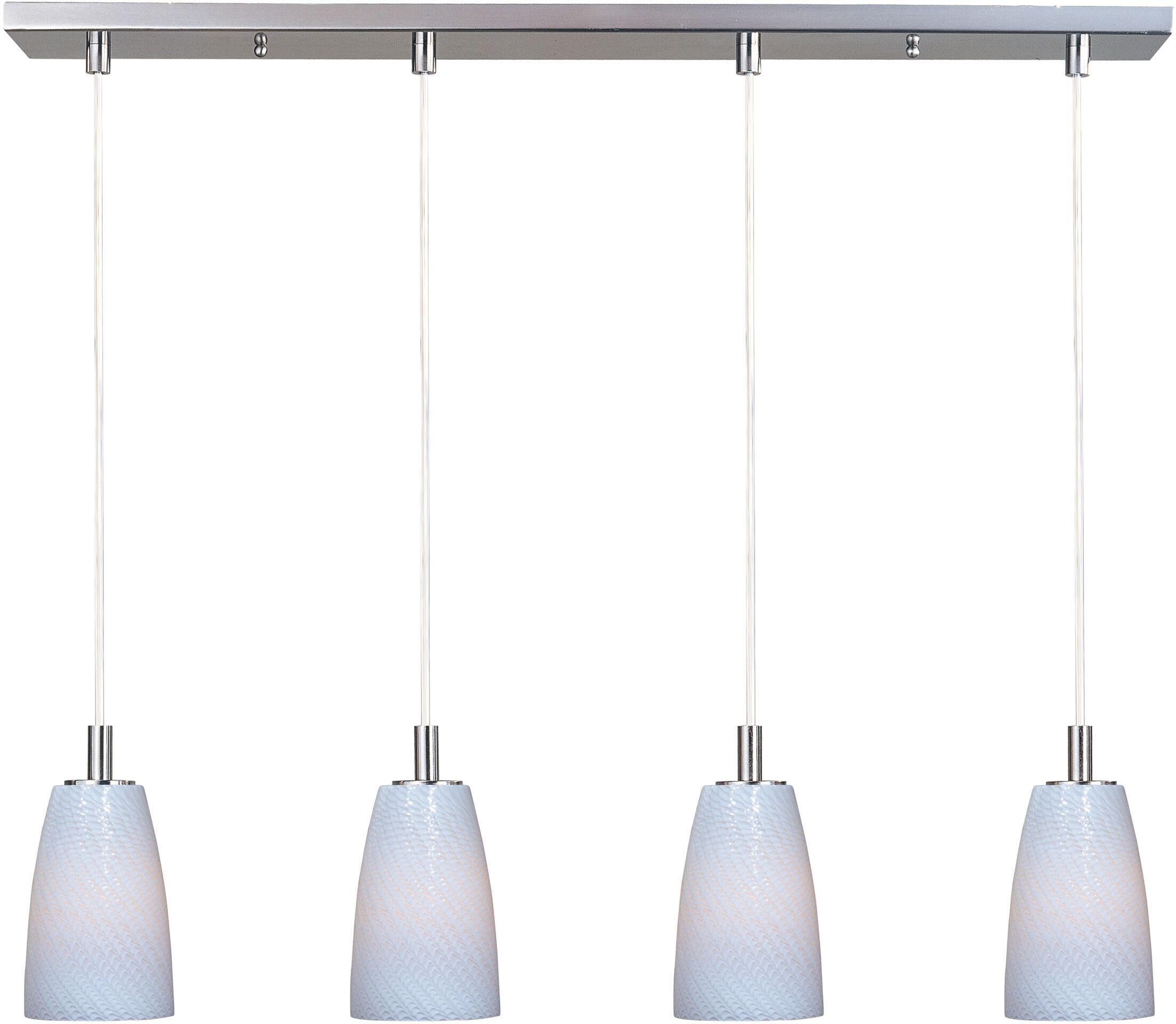 Pegasi 4-Light LED Kitchen Island Pendant Shade Color: White, Finish: Satin Nickel