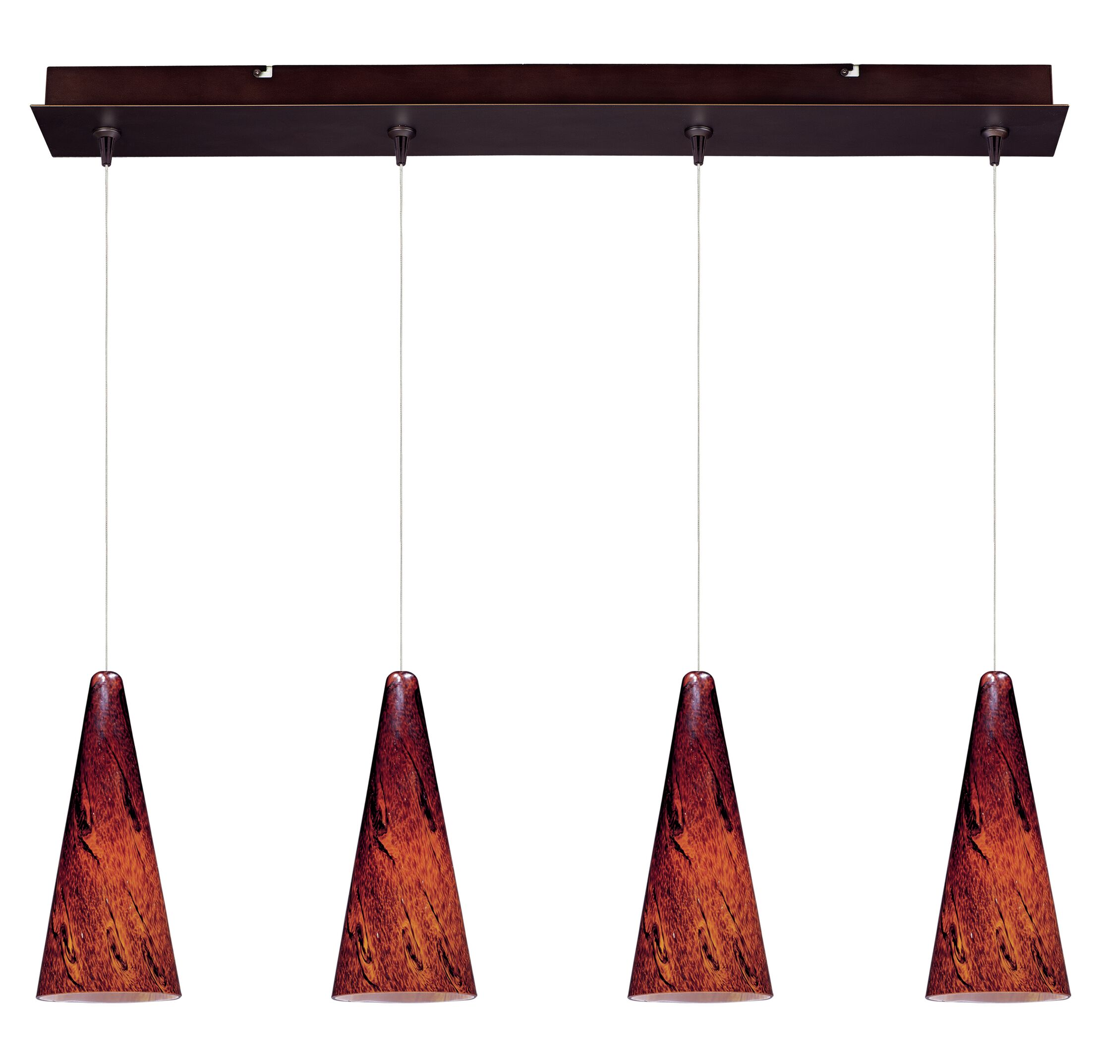 Mcwilliams Lava 4-Light Pendant Glass Color: Amber Lava, Finish: Bronze