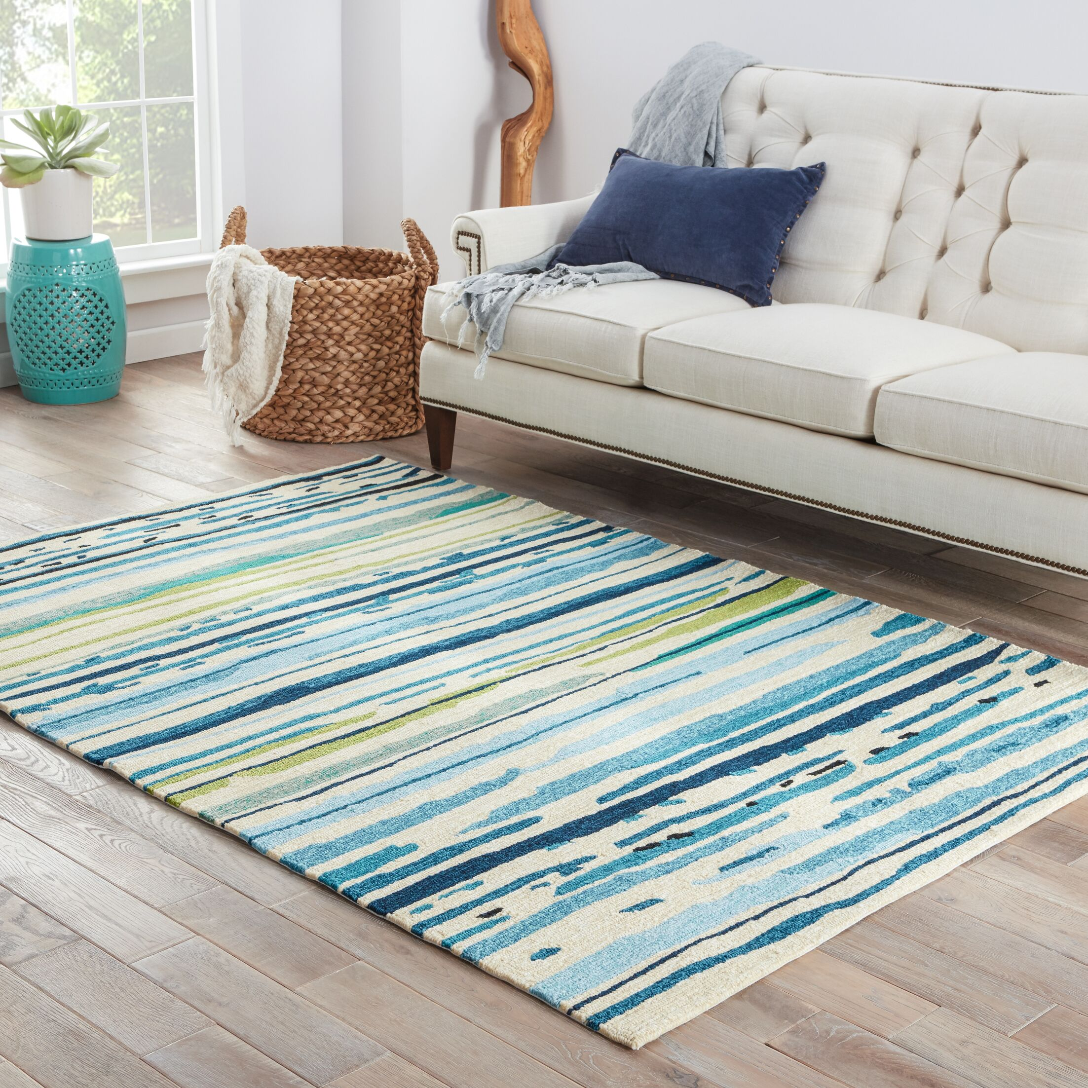 Angelina Hand-Hooked Polypropylene Blue/Green Outdoor Area Rug Rug Size: Rectangle 5' x 7'6