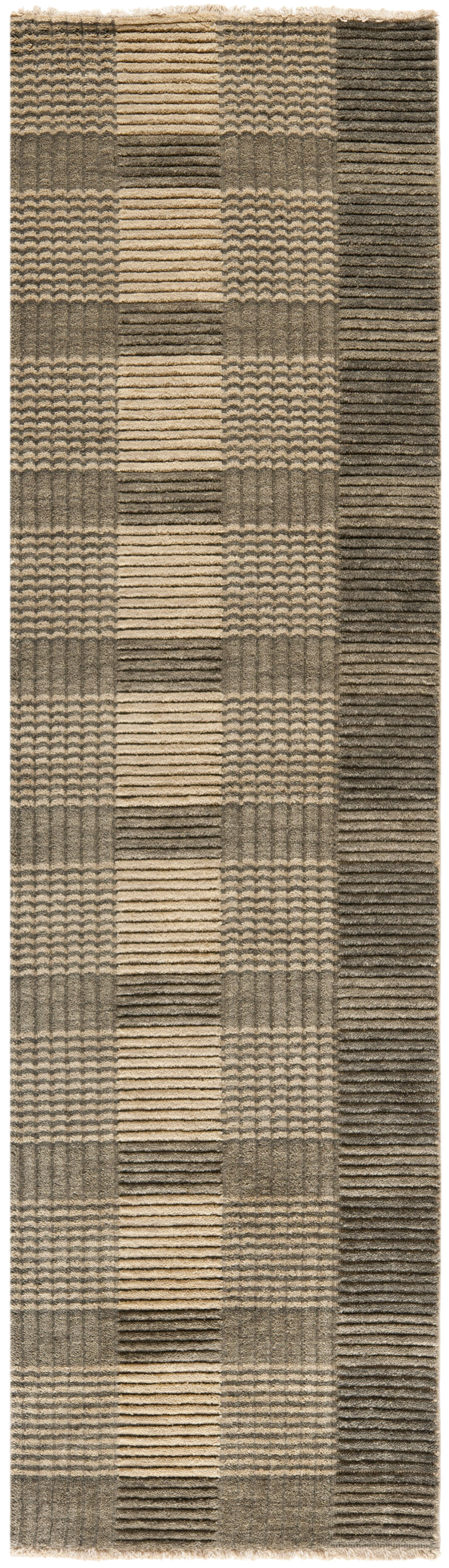 Apple Creek Hand-Knotted Charcoal Area Rug Rug Size: Runner 2' x 8'