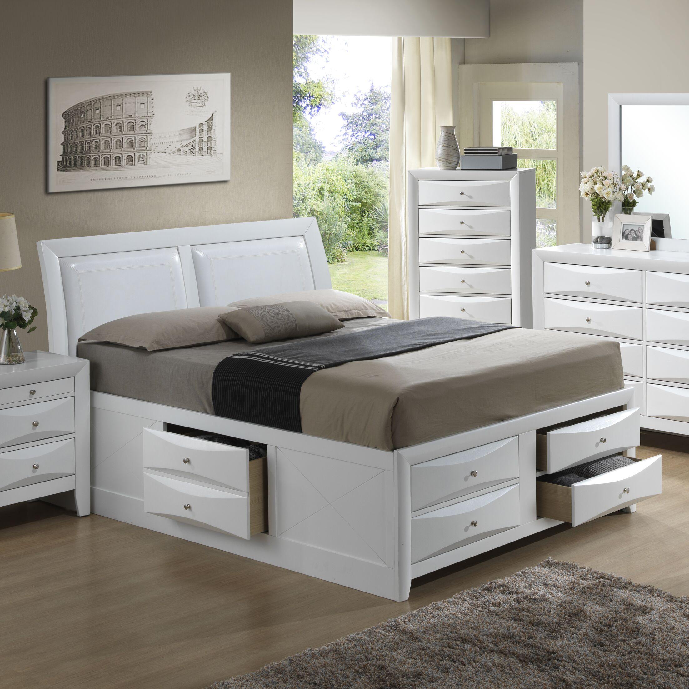 Medford Storage Upholstered Platform Bed Color: White, Size: Twin