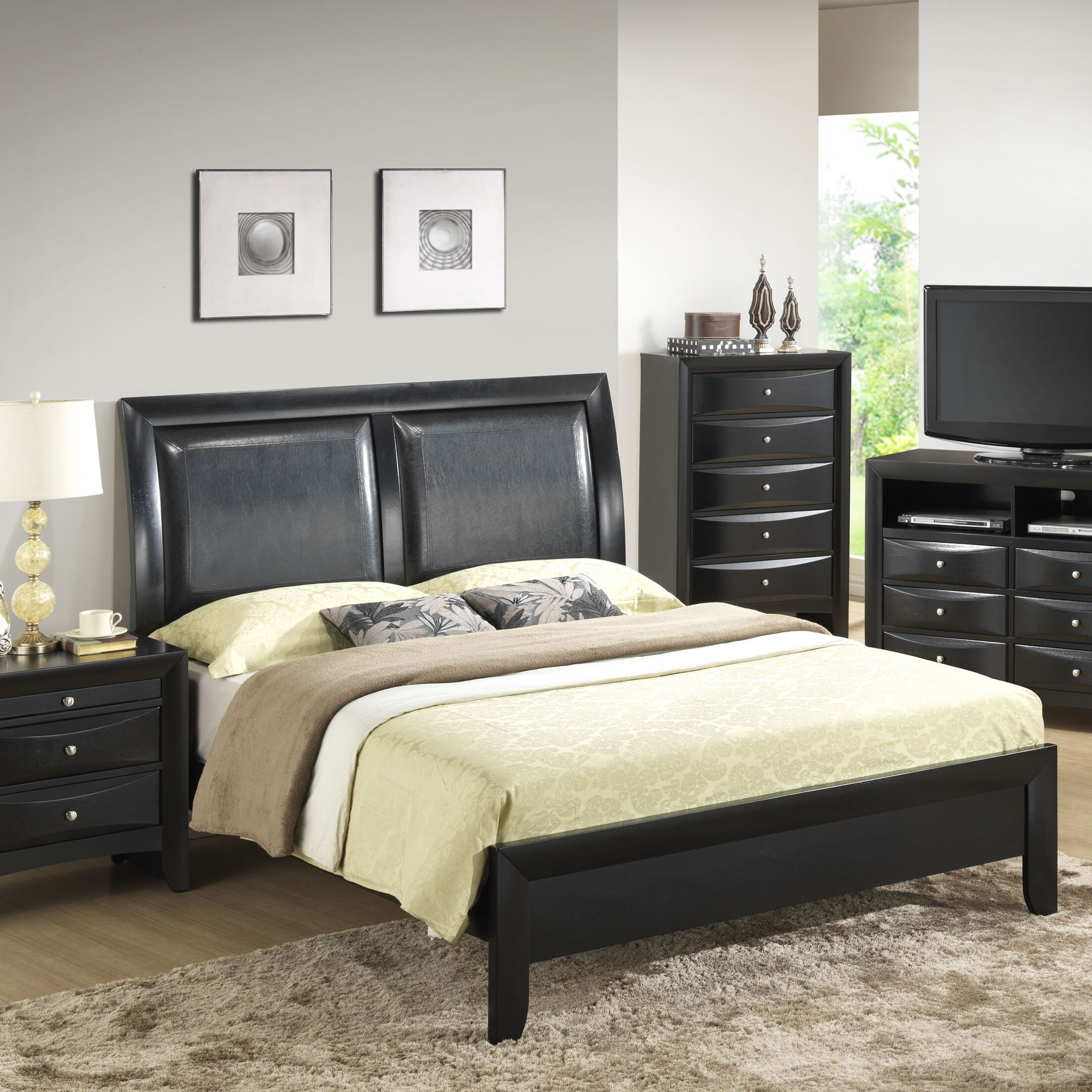 Medford Upholstered Panel Bed Size: Full, Color: Black