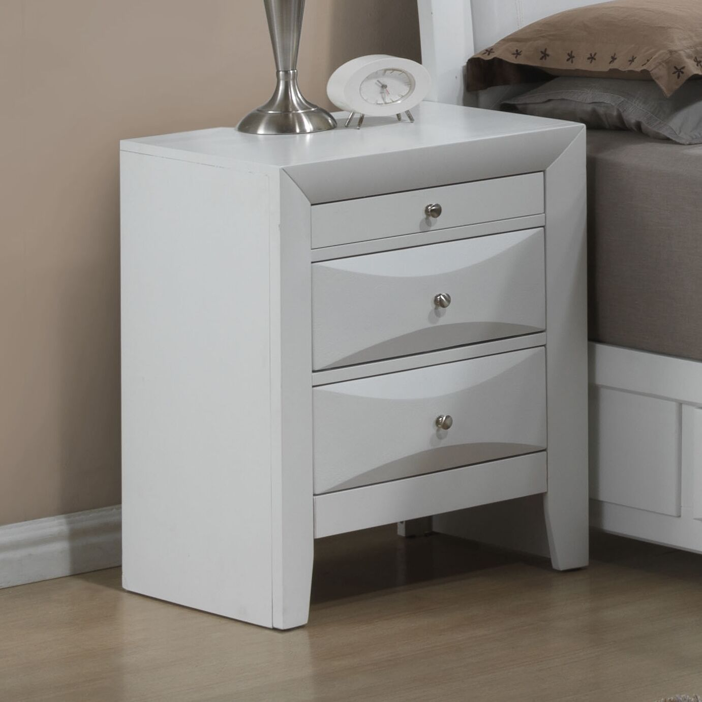 Medford 3 Drawer Nightstand Color: White