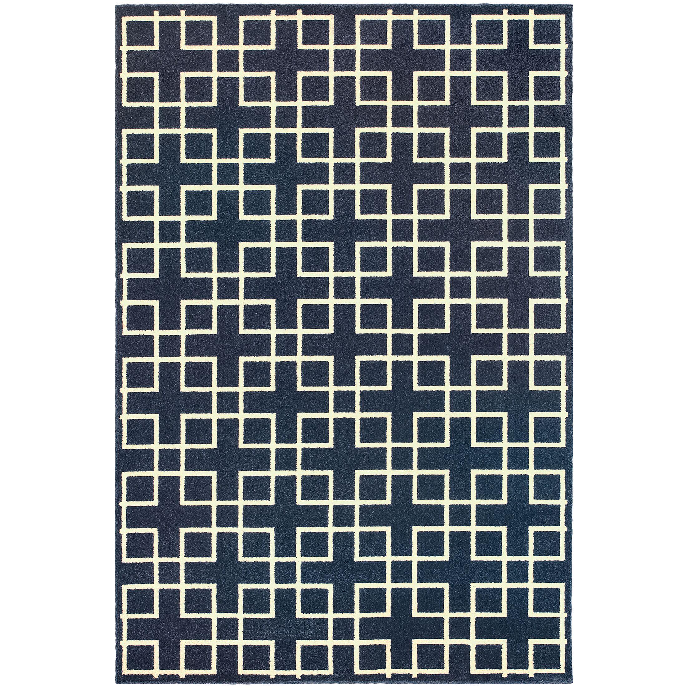 Albrecht Navy/Ivory Area Rug Rug Size: Rectangle 6'7