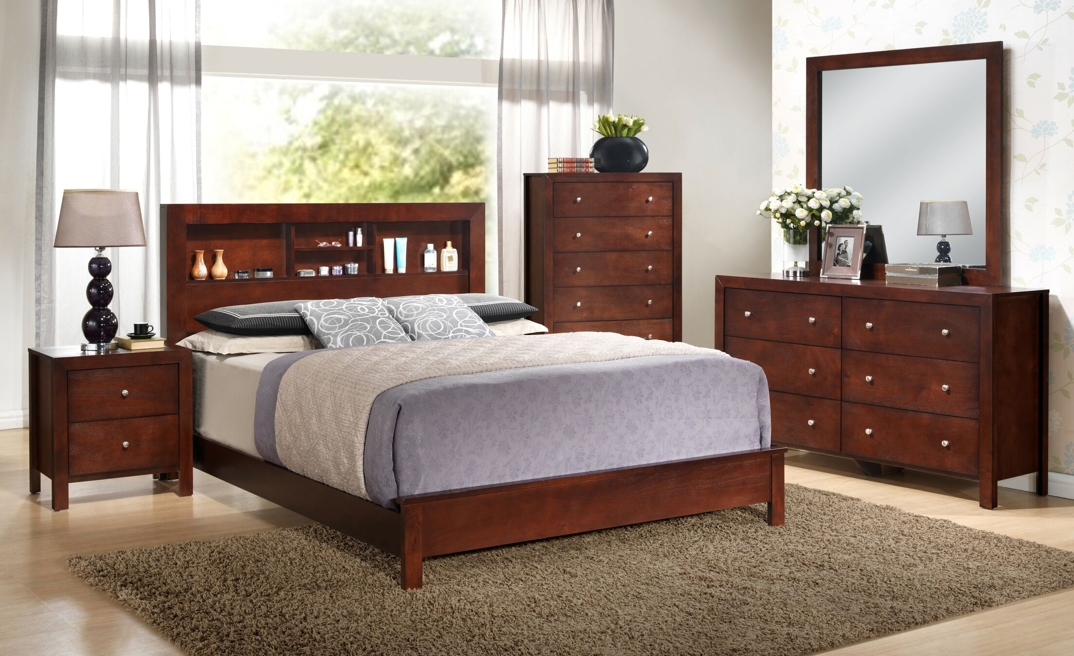 Brennen Panel Bed Size: King, Color: Gray