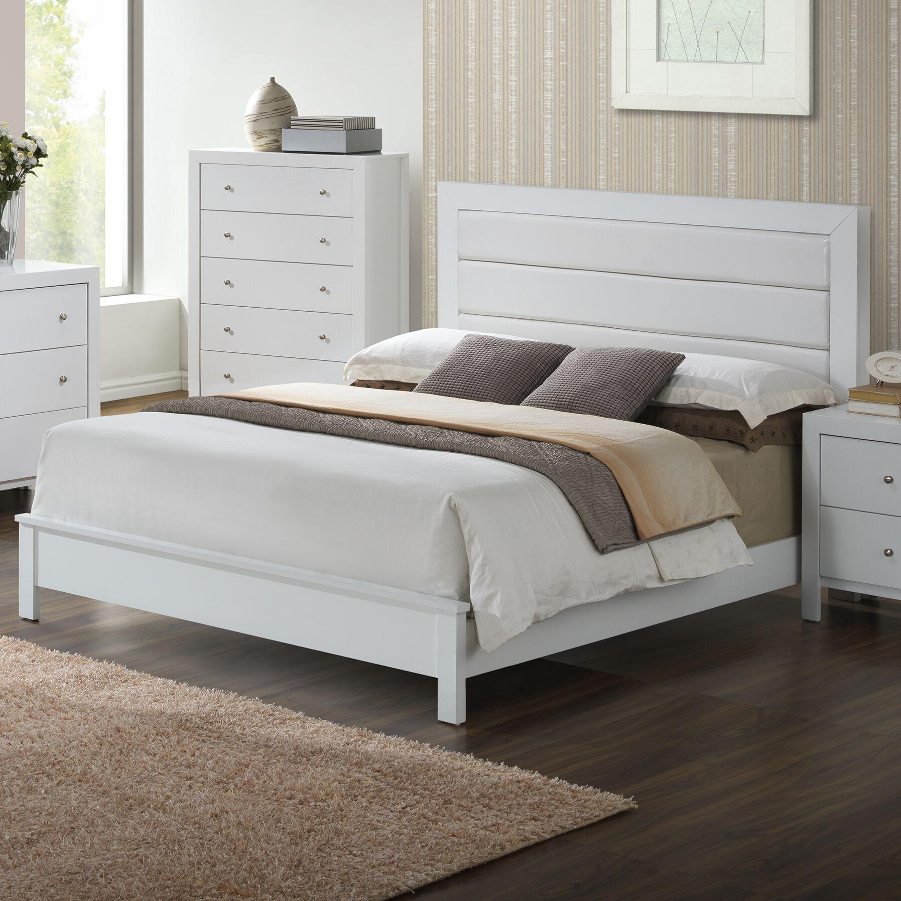 Brennen Upholstered Panel Bed Size: Full, Color: White