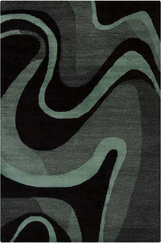 Millwood Hand Tufted Wool Black/Teal Area Rug Rug Size: 5' x 7'6